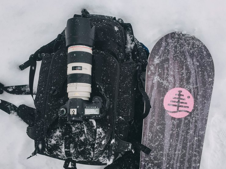 Riding through waist-deep powder with all my camera gear is always a good workout.