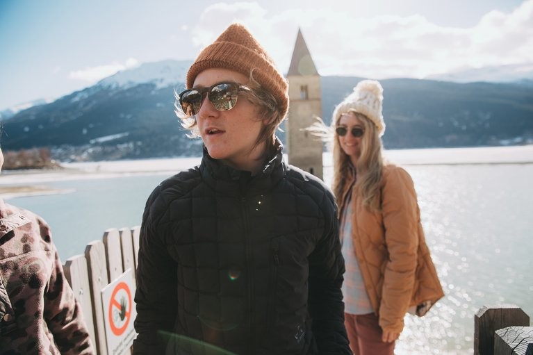Red Gerard and Anna Gasser Hanging Out by a Lake in Burton Jackets Featuring Responsibly Sourced Down