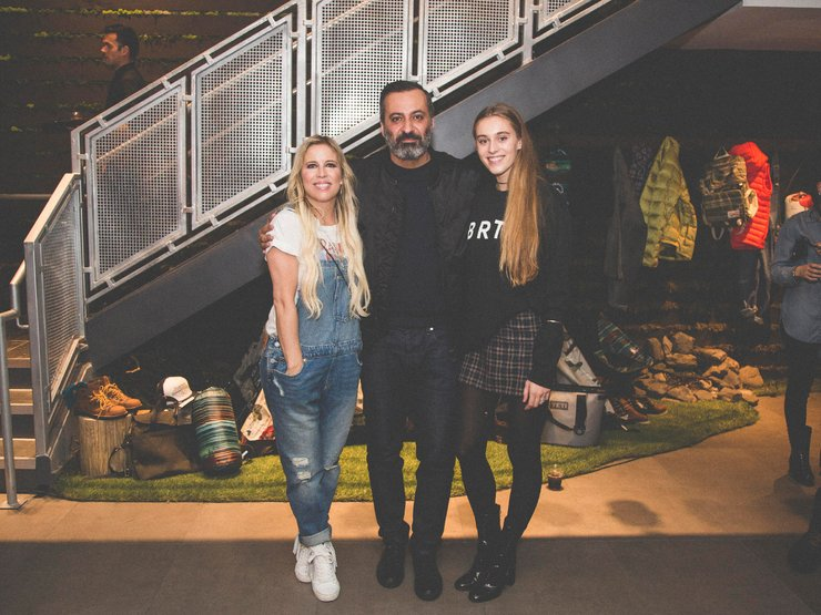 Another Burton family photo op. From left to right: Anne-Marie, Milk Studio's co-founder Mazdack Rassi, and Skylar.