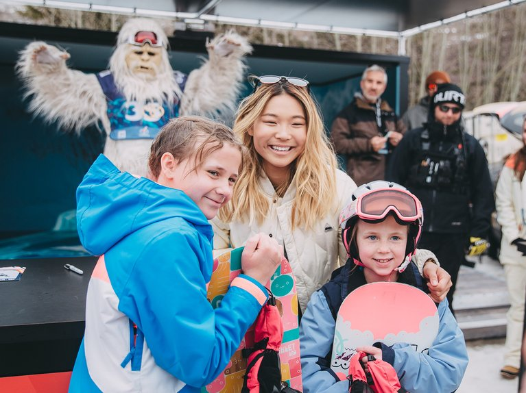 Chloe Kim Posing with fans at the Burton U·S·Open