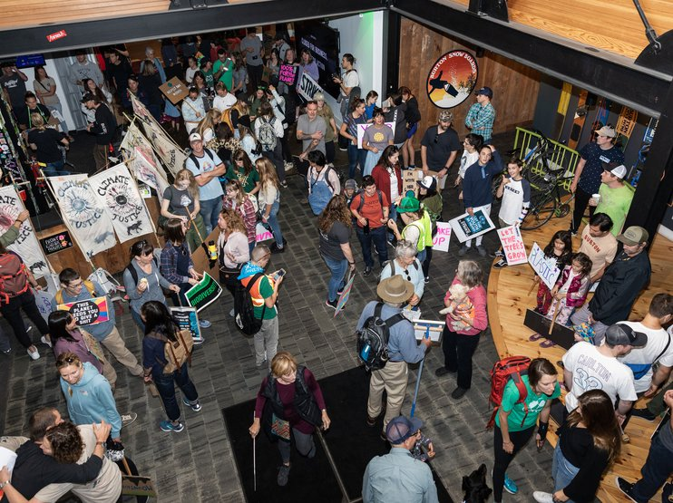 Burton employees and people from the community were invited to our Burlington, Vermont headquarters to make signs and march together.