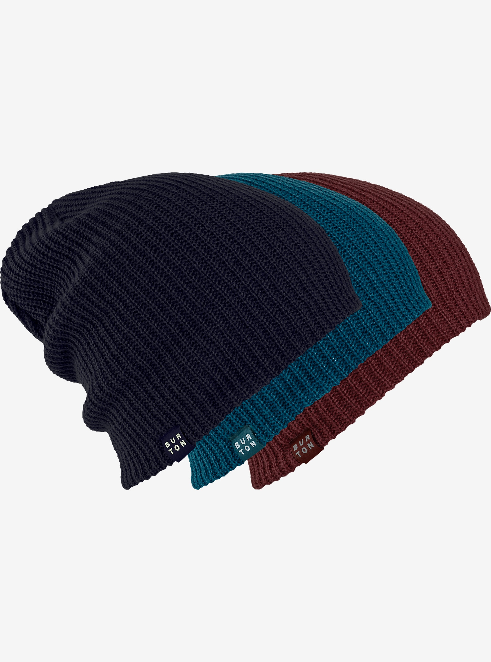 Burton DND Beanie 3-Pack shown in Mood Indigo / Jade / Sangria