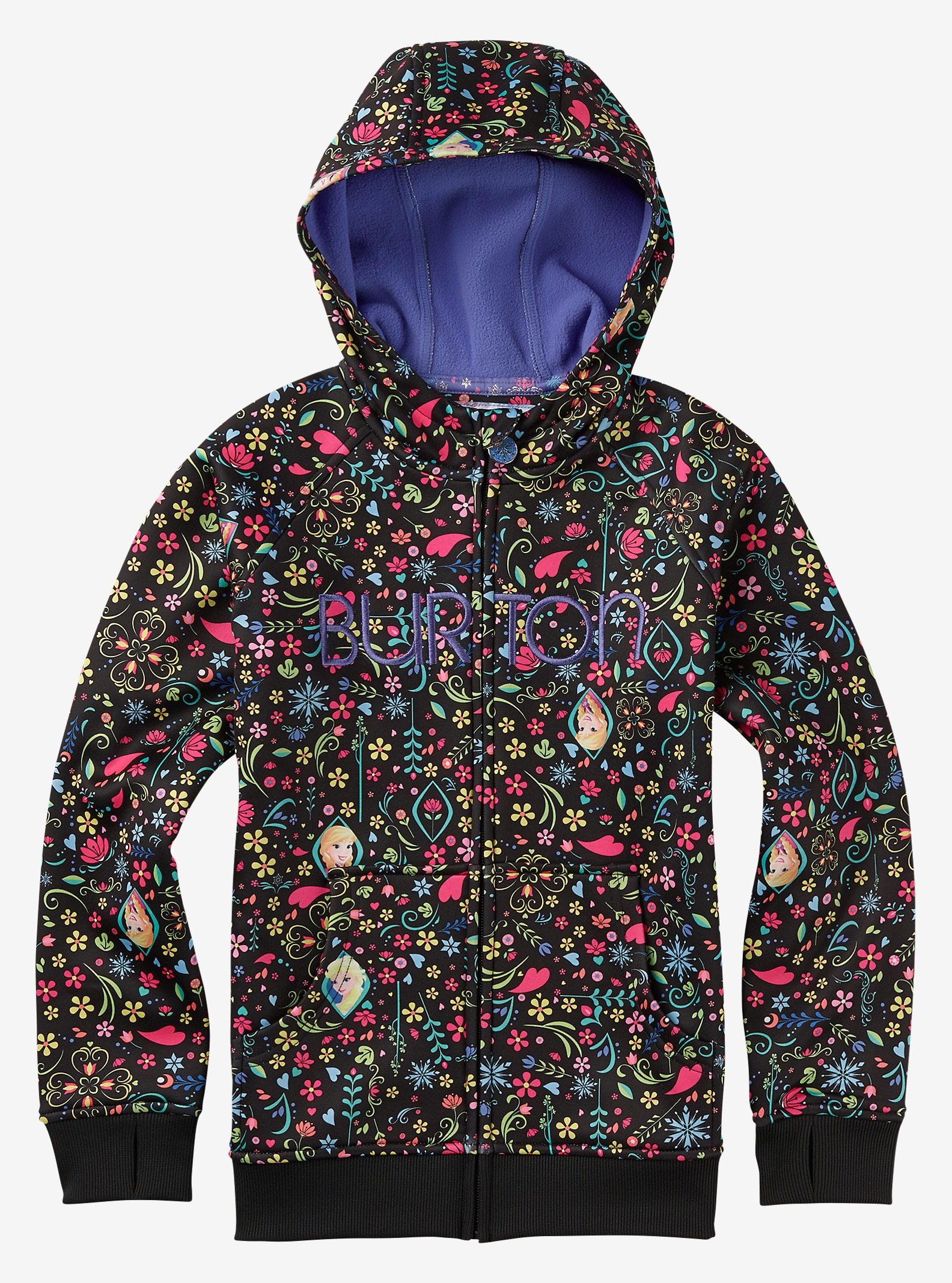 Disney Frozen Girls' Scoop Hoodie shown in Elsa & Anna Frozen Print © Disney