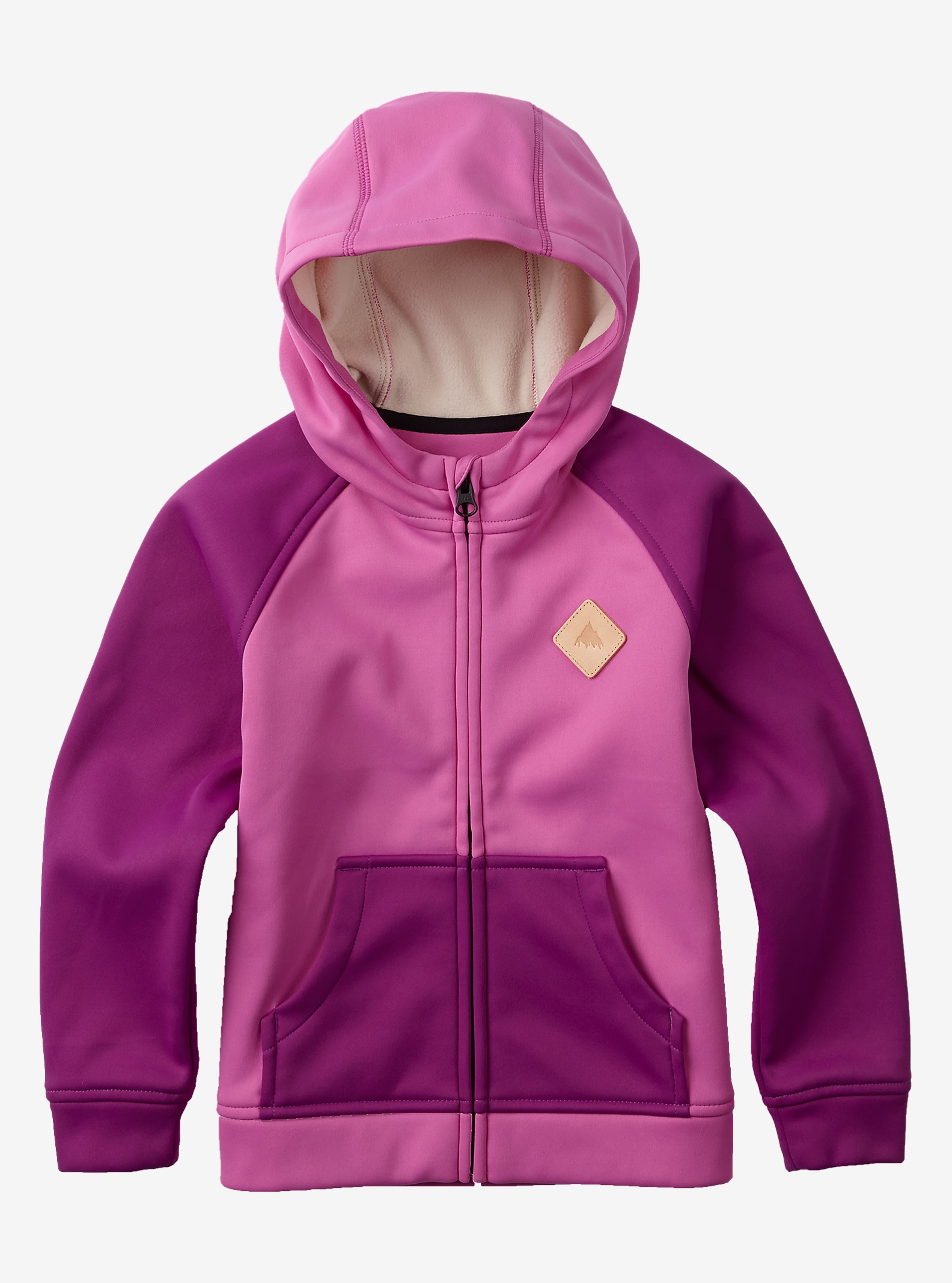 Burton Girls' Mini Bonded Full-Zip Hoodie shown in Super Pink