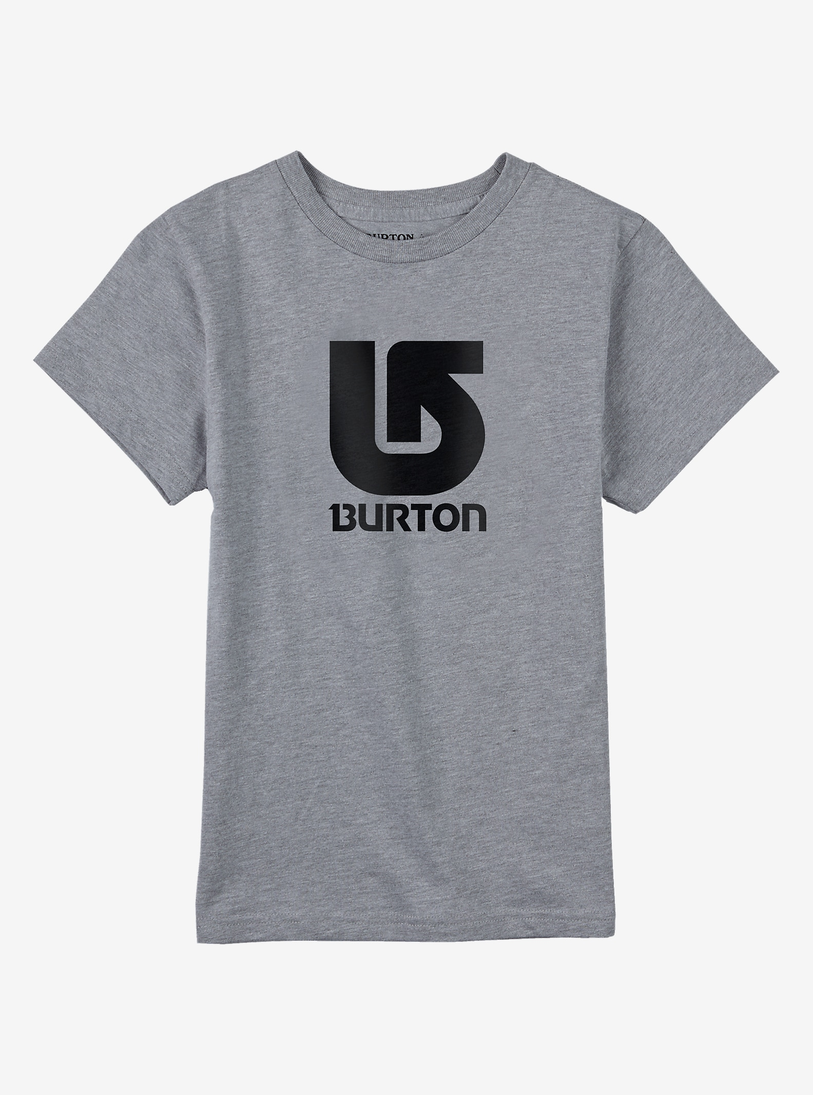 Burton Logo Vertical Short Sleeve T Shirt shown in Gray Heather