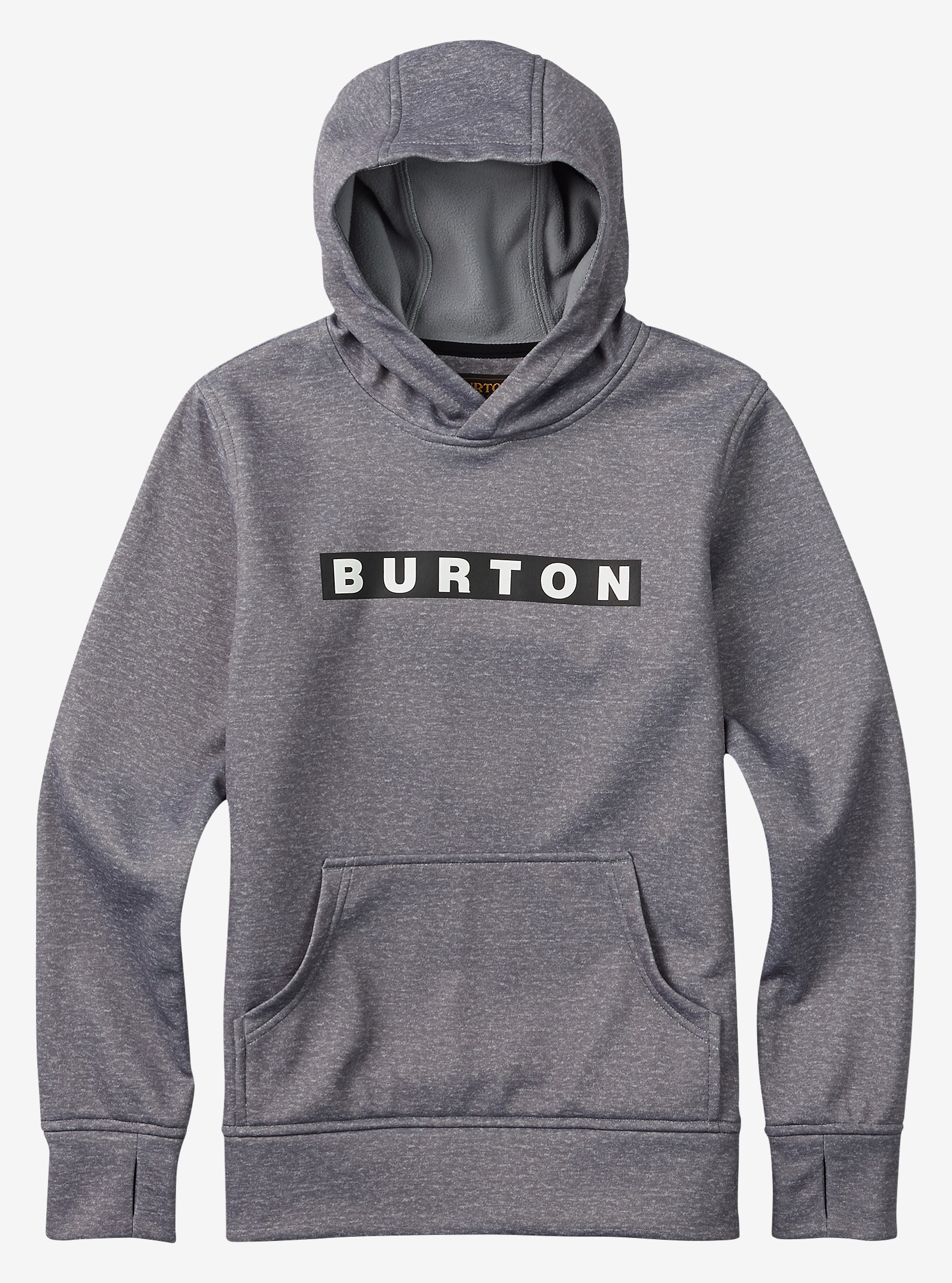Burton Boys' Crown Bonded Pullover Hoodie shown in Monument Heather
