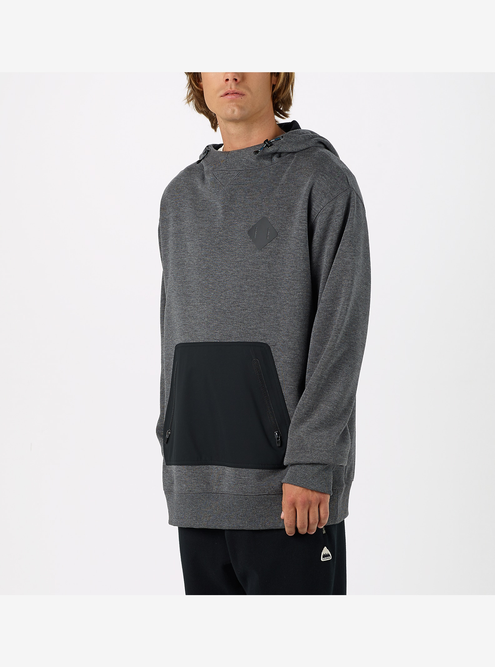 Burton Hemlock Bonded Pullover Hoodie shown in True Black Heather