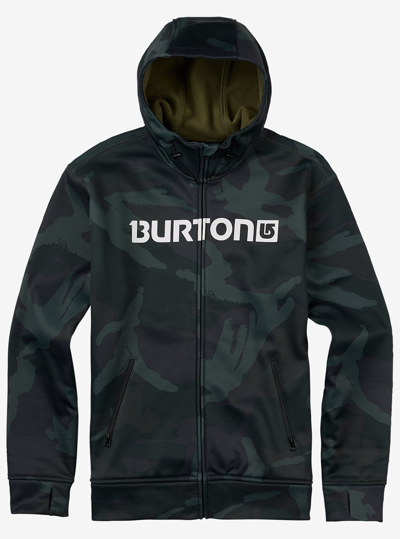 Burton Bonded Full-Zip Hoodie shown in Beetle Derby Camo
