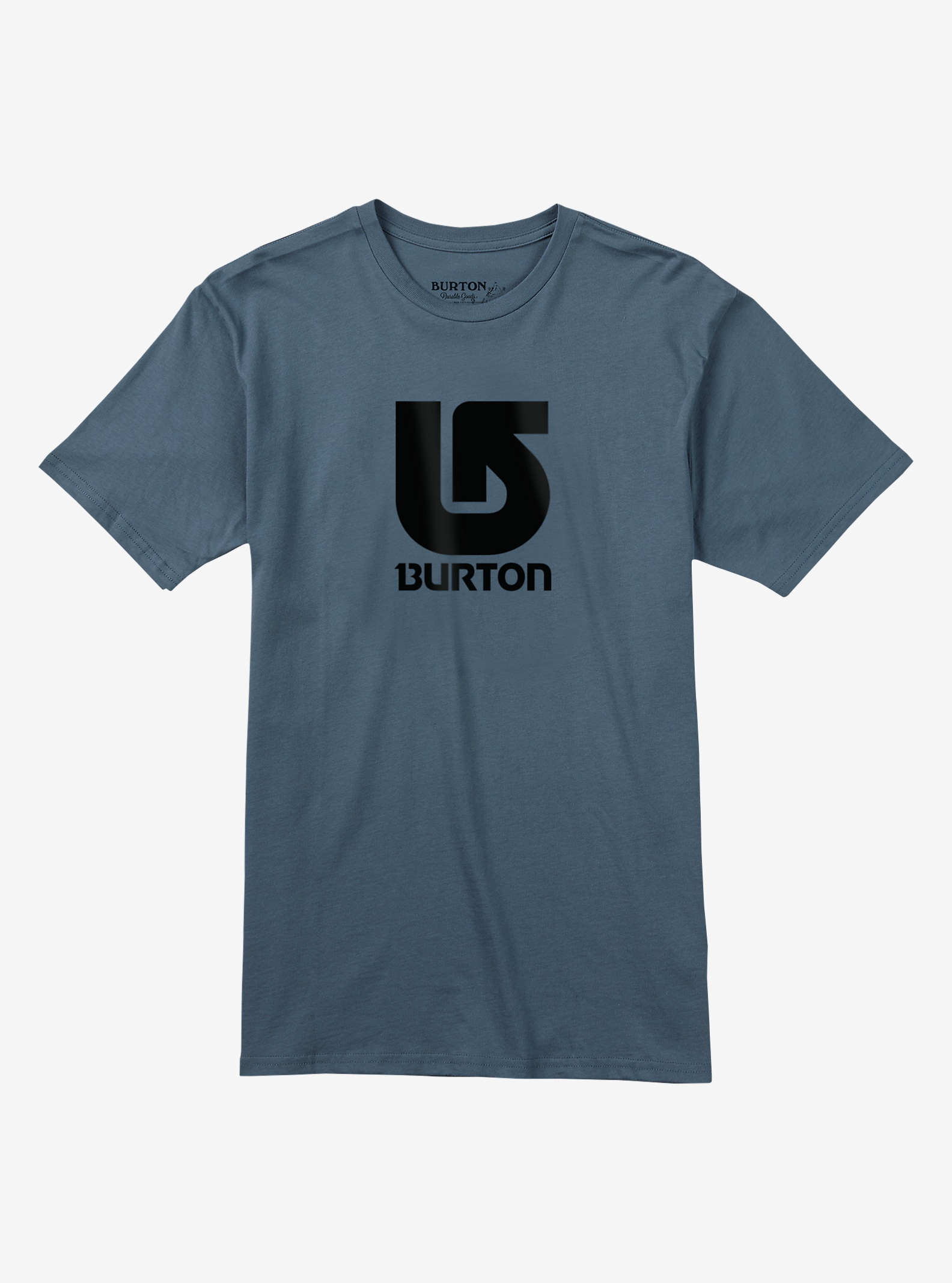 Burton Logo Vertical Slim Fit Short Sleeve T Shirt shown in Blue Mirage