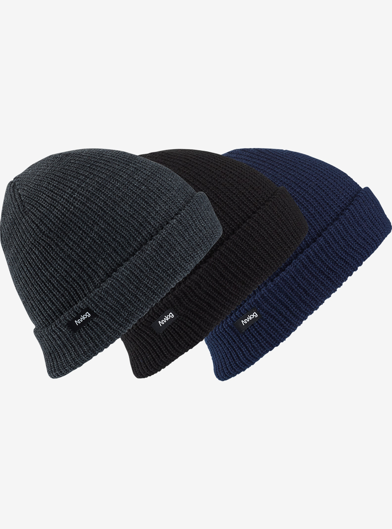 Analog Beanie 3-Pack shown in Navy / Gray / Black