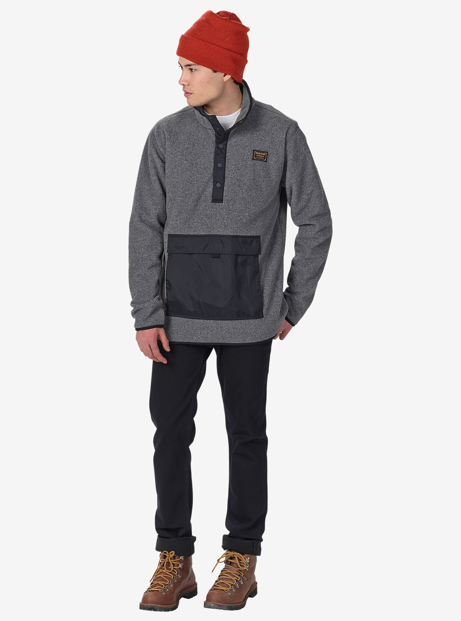 Burton Hearth Fleece Anorak shown in Dark Ash Heather