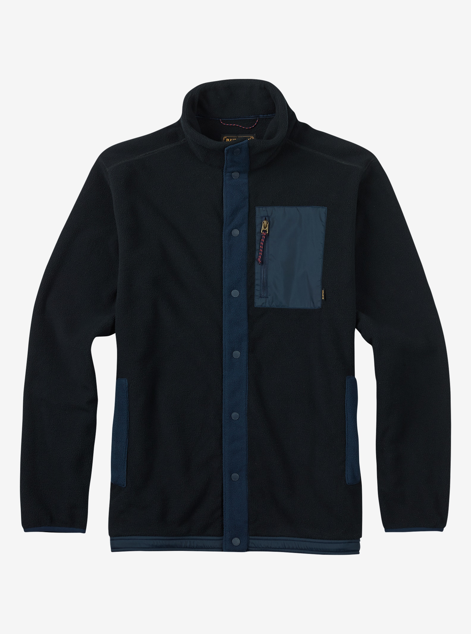 Burton Hearth Snap-Up Fleece shown in True Black