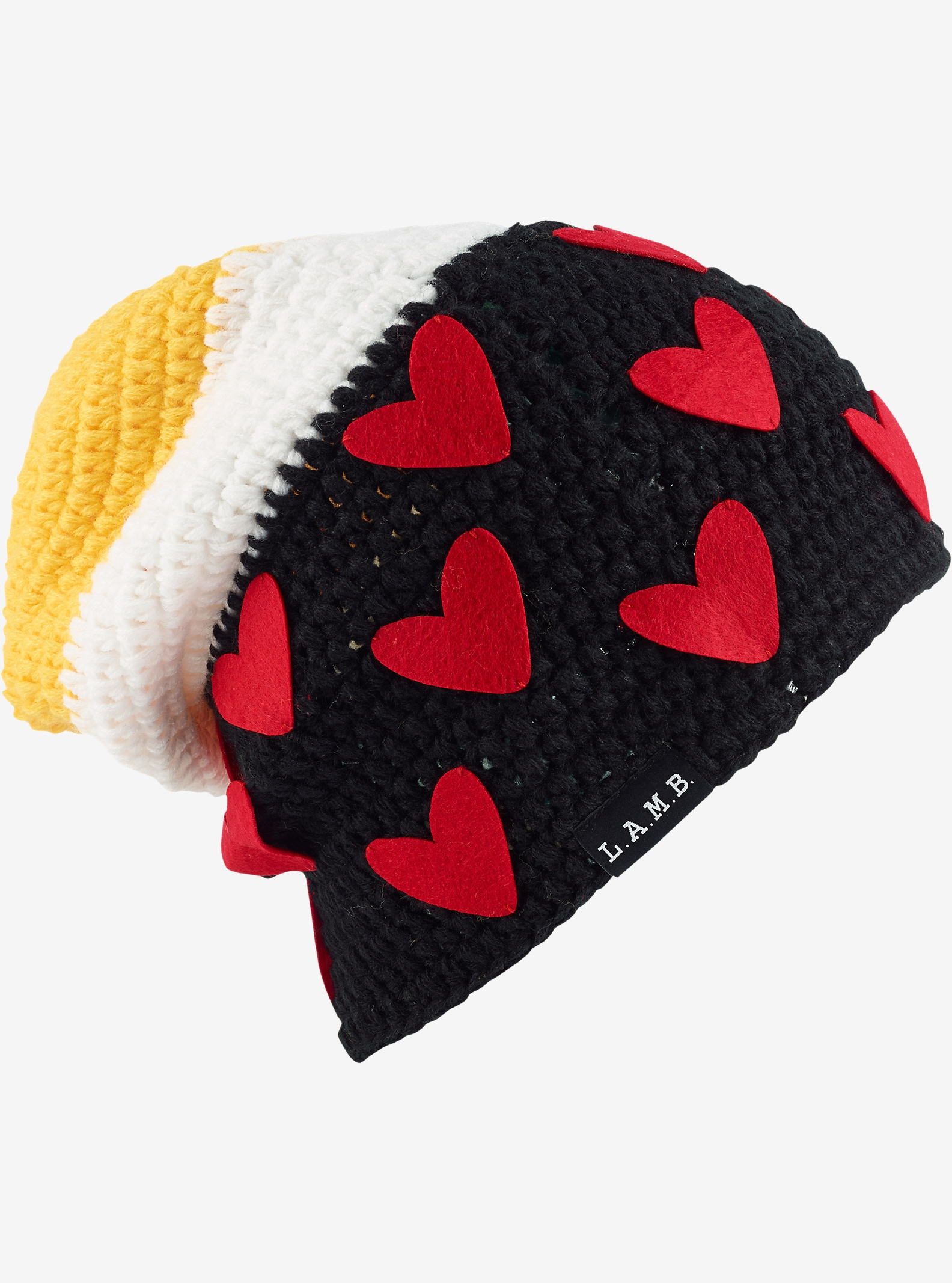 L.A.M.B. x Burton Irie Beanie shown in True Black / Hearts