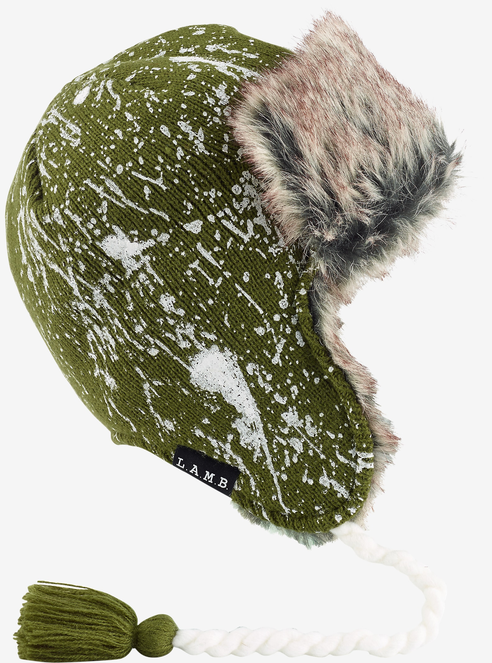 L.A.M.B. x Burton Trapper shown in Dusty Olive Paint Splatter
