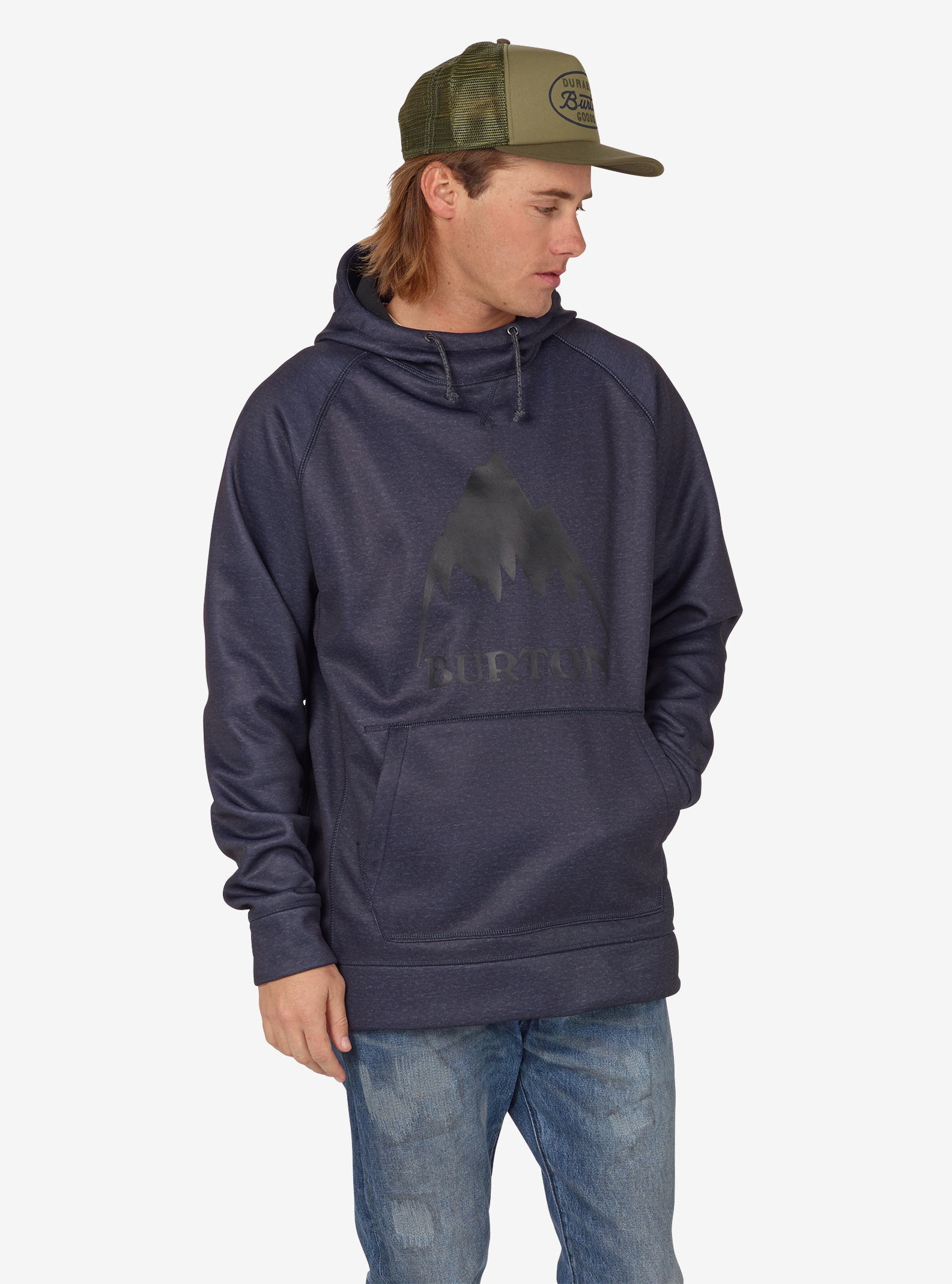 Men's Burton Crown Bonded Pullover Hoodie shown in Mood Indigo Heather
