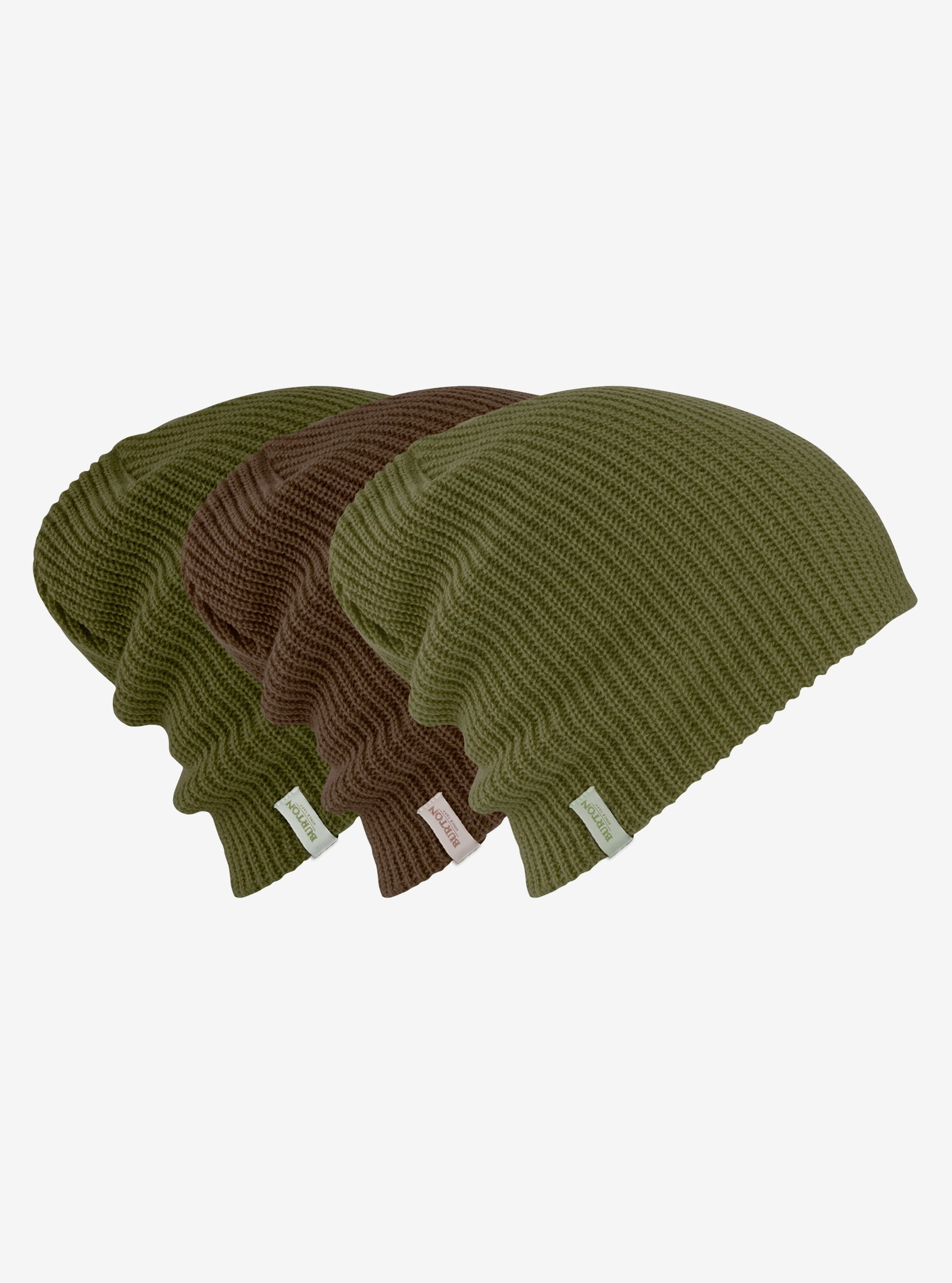 Burton DND Beanie 3-Pack shown in Chestnut / Forest Night / Olive Branch