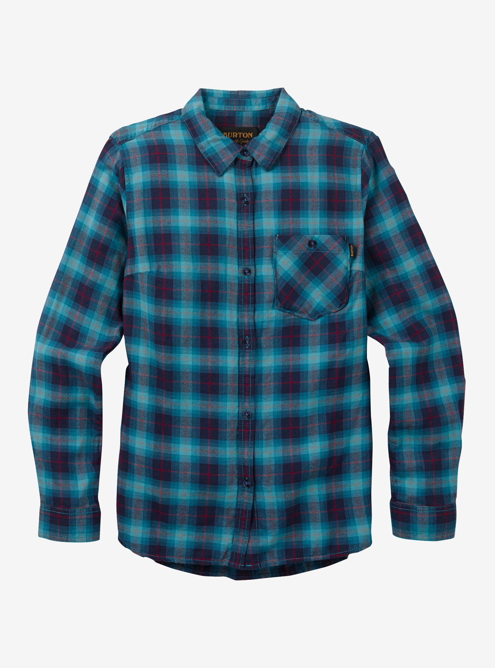 Women's Burton Grace Long Sleeve Woven shown in Jaded Haze Plaid