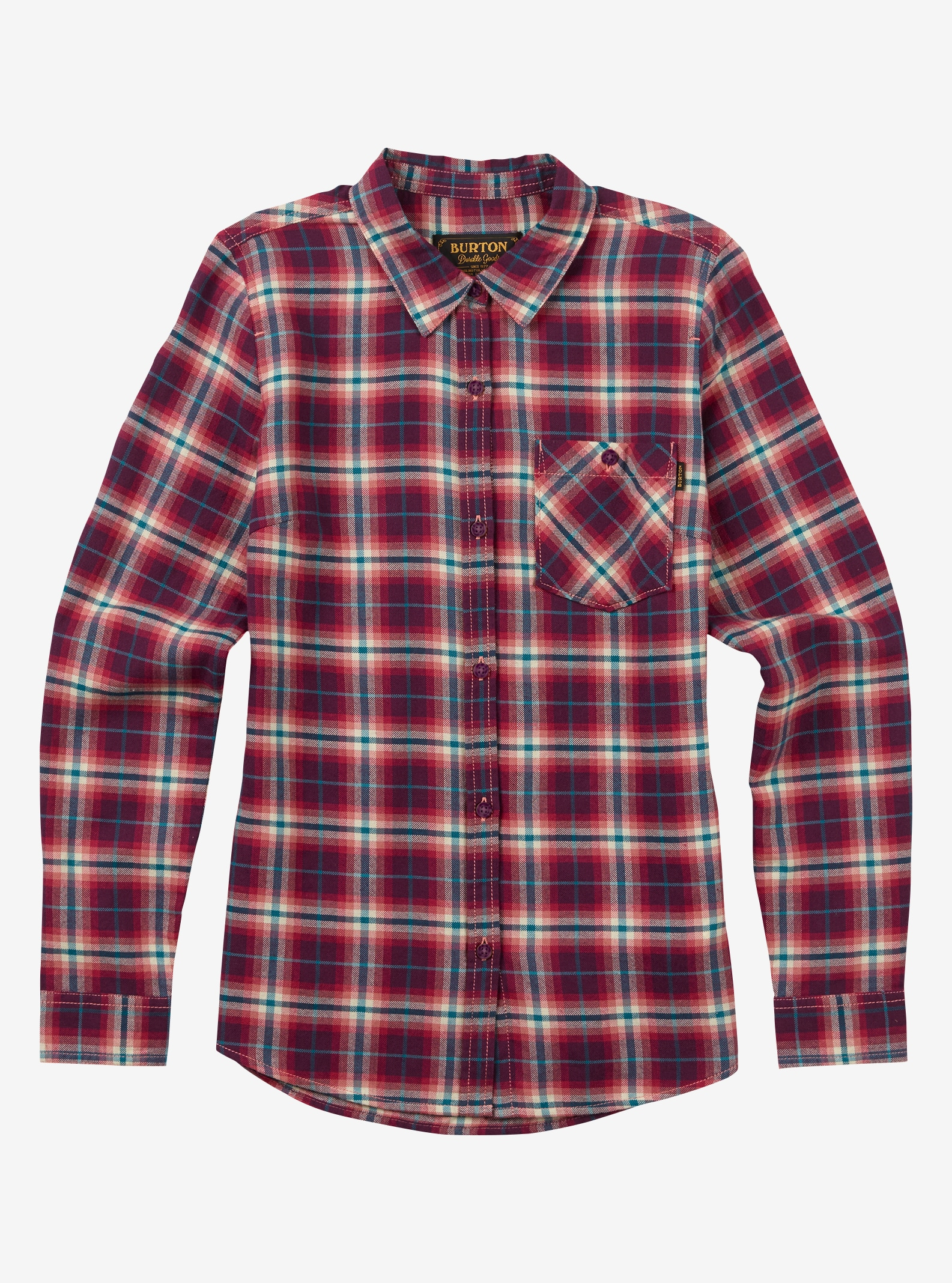 Women's Burton Grace Long Sleeve Woven shown in Anemone Haze Plaid