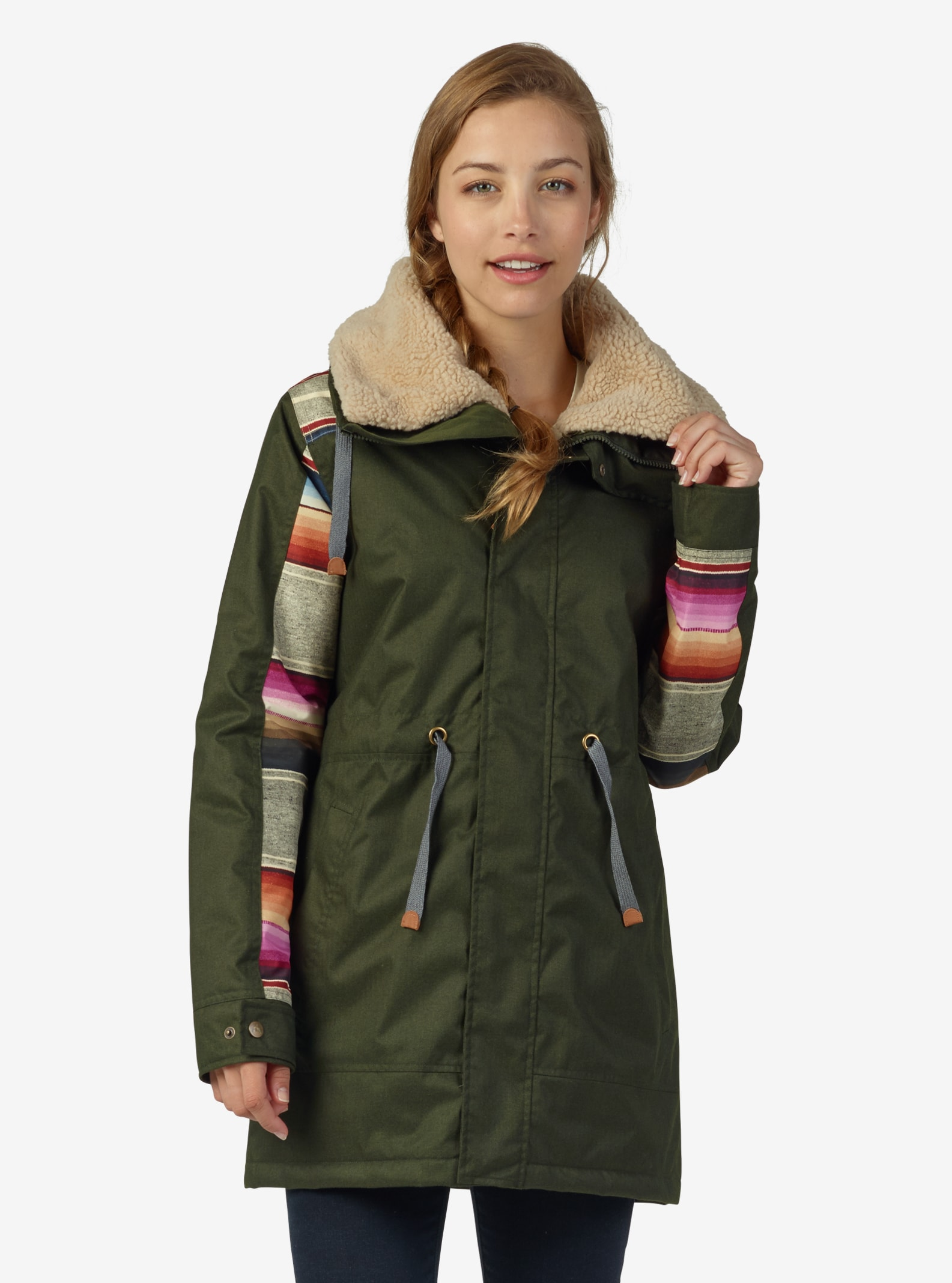 Women's Burton Hazelton Jacket shown in Forest Night / Mija Stripe
