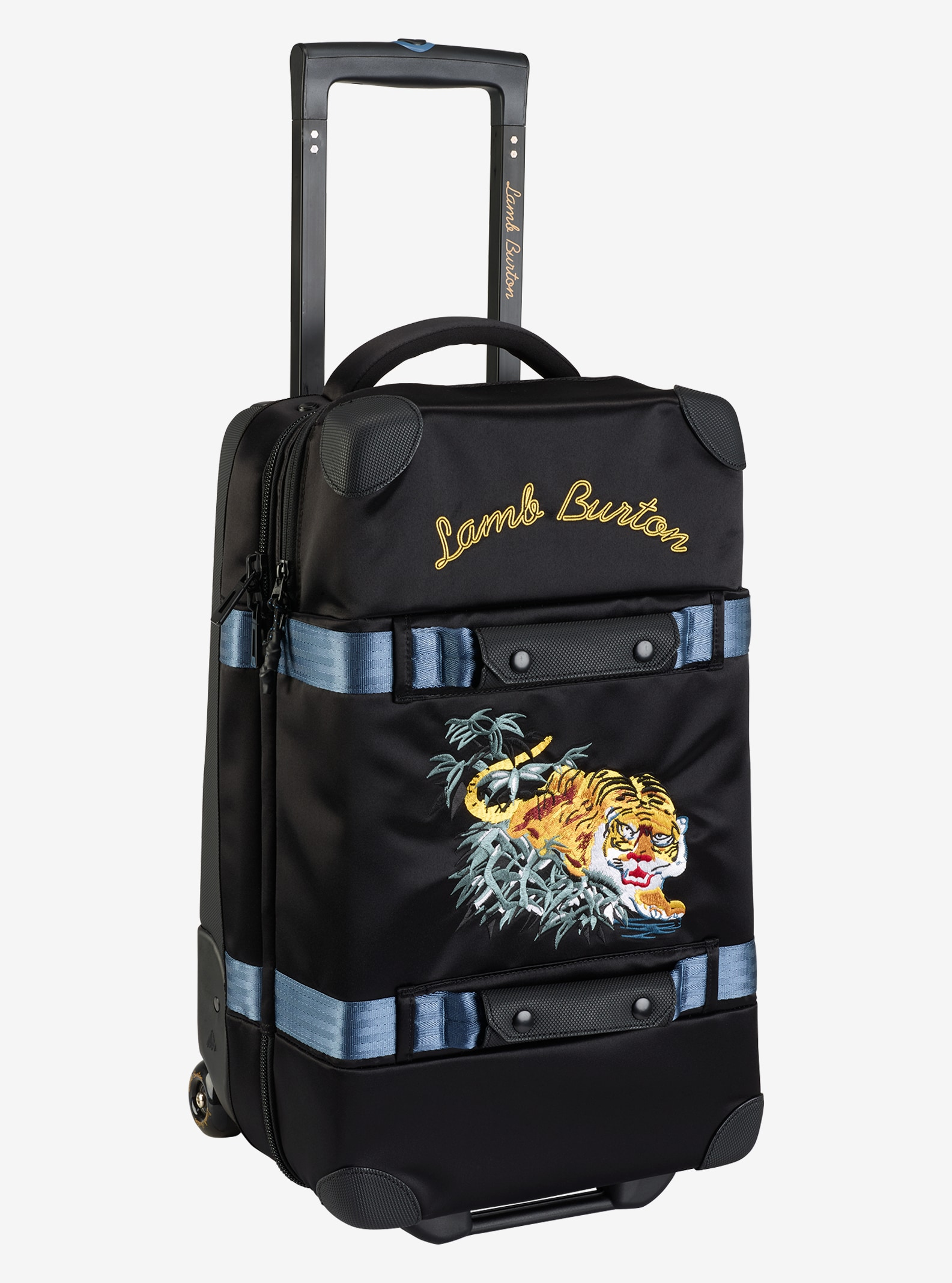 L A M B X Burton Wheelie Flight Deck Travel Bag Shown In True Black Bengal