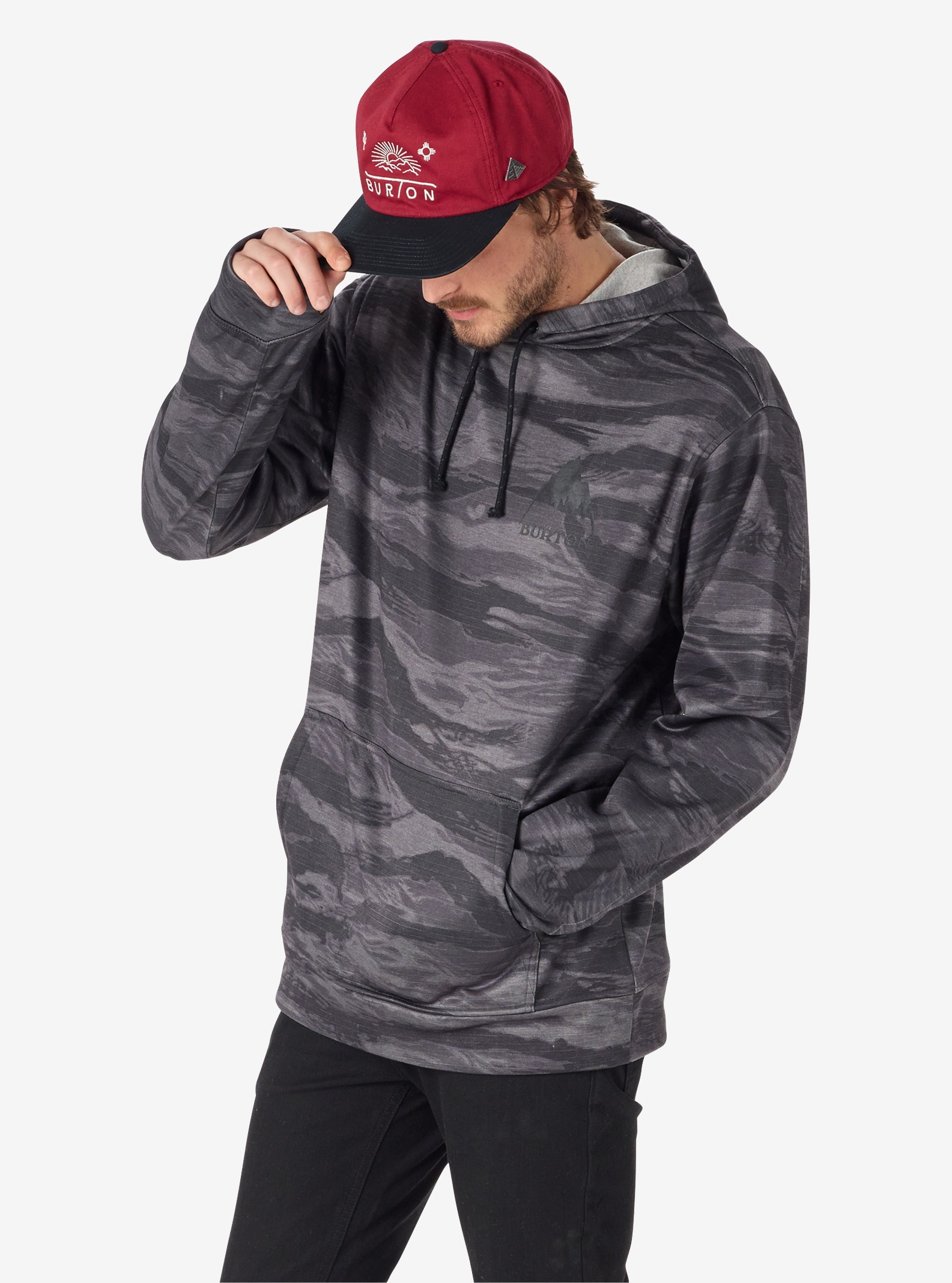 Men's Burton Oak Pullover Hoodie shown in Faded Worn Tiger