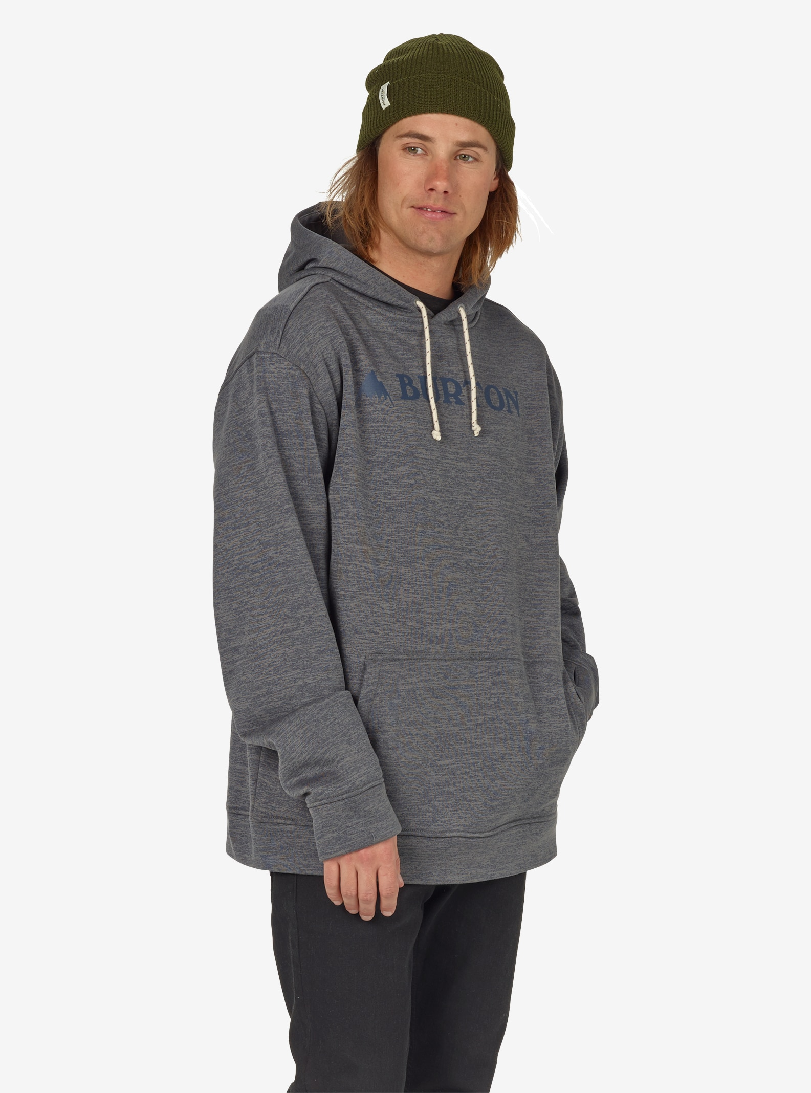 Men's Burton Oak Pullover Hoodie shown in Shade Heather