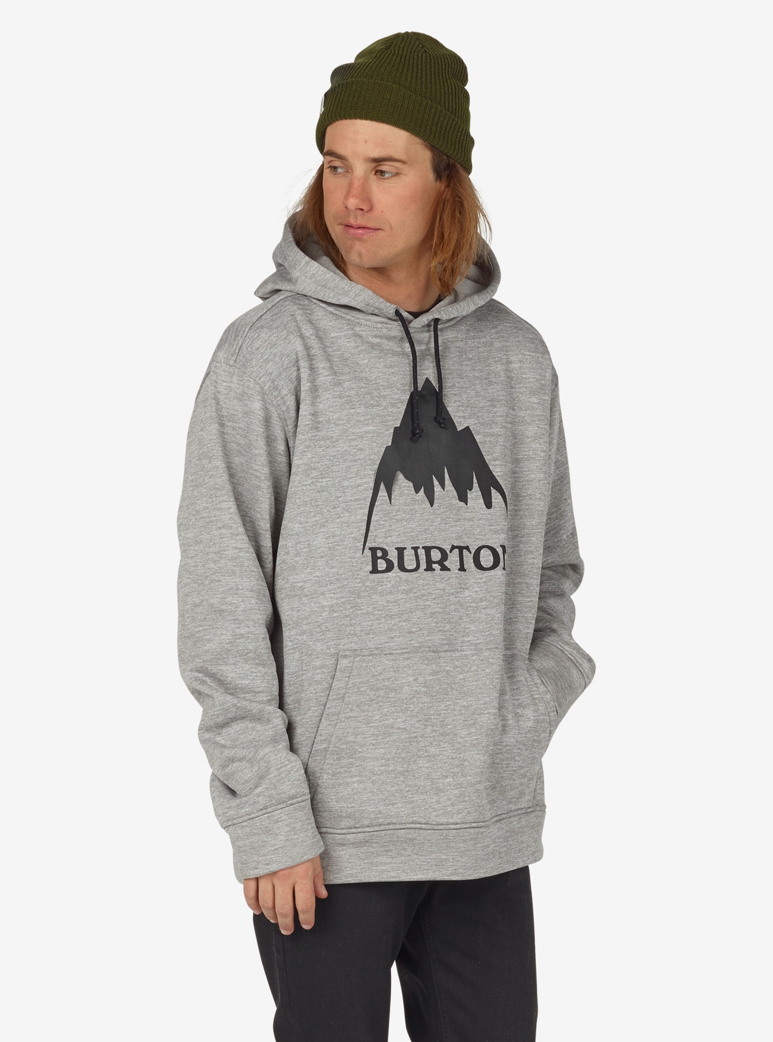 Men's Burton Oak Pullover Hoodie shown in Monument Heather