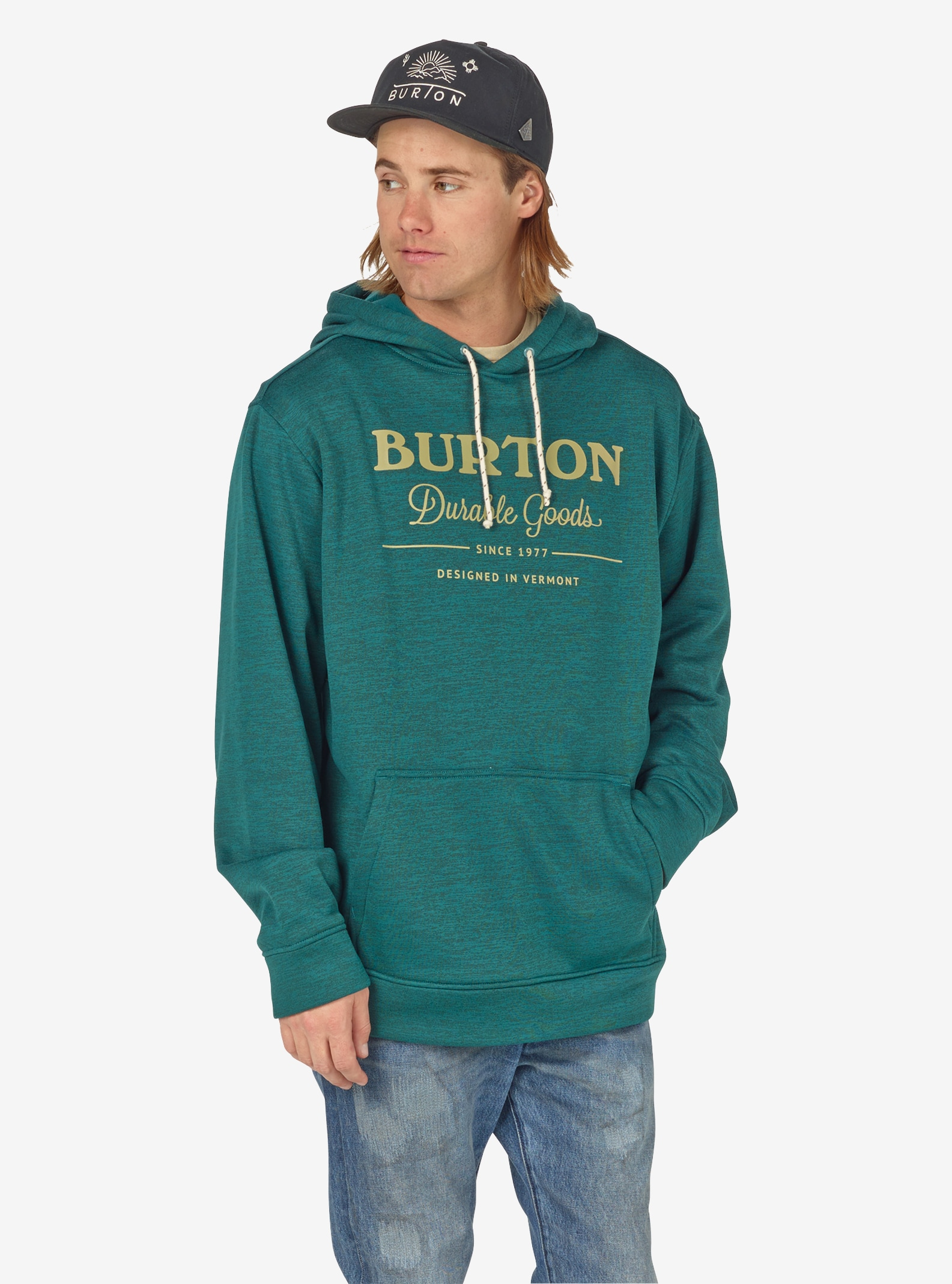 Men's Burton Oak Pullover Hoodie shown in Jasper Heather