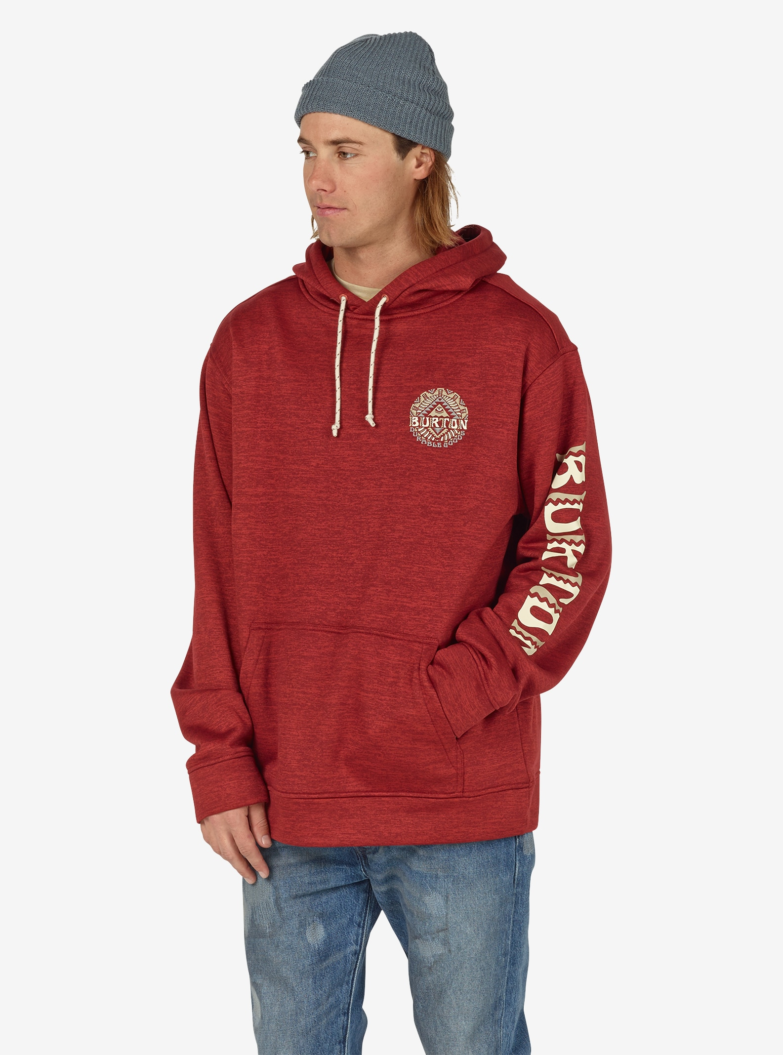 Men's Burton Oak Pullover Hoodie shown in Tandori Heather