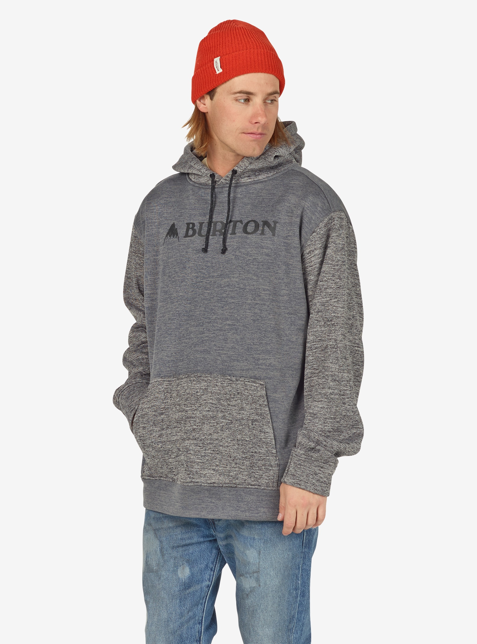 Men's Burton Oak Pullover Hoodie shown in Shade Heather / True Black Heather