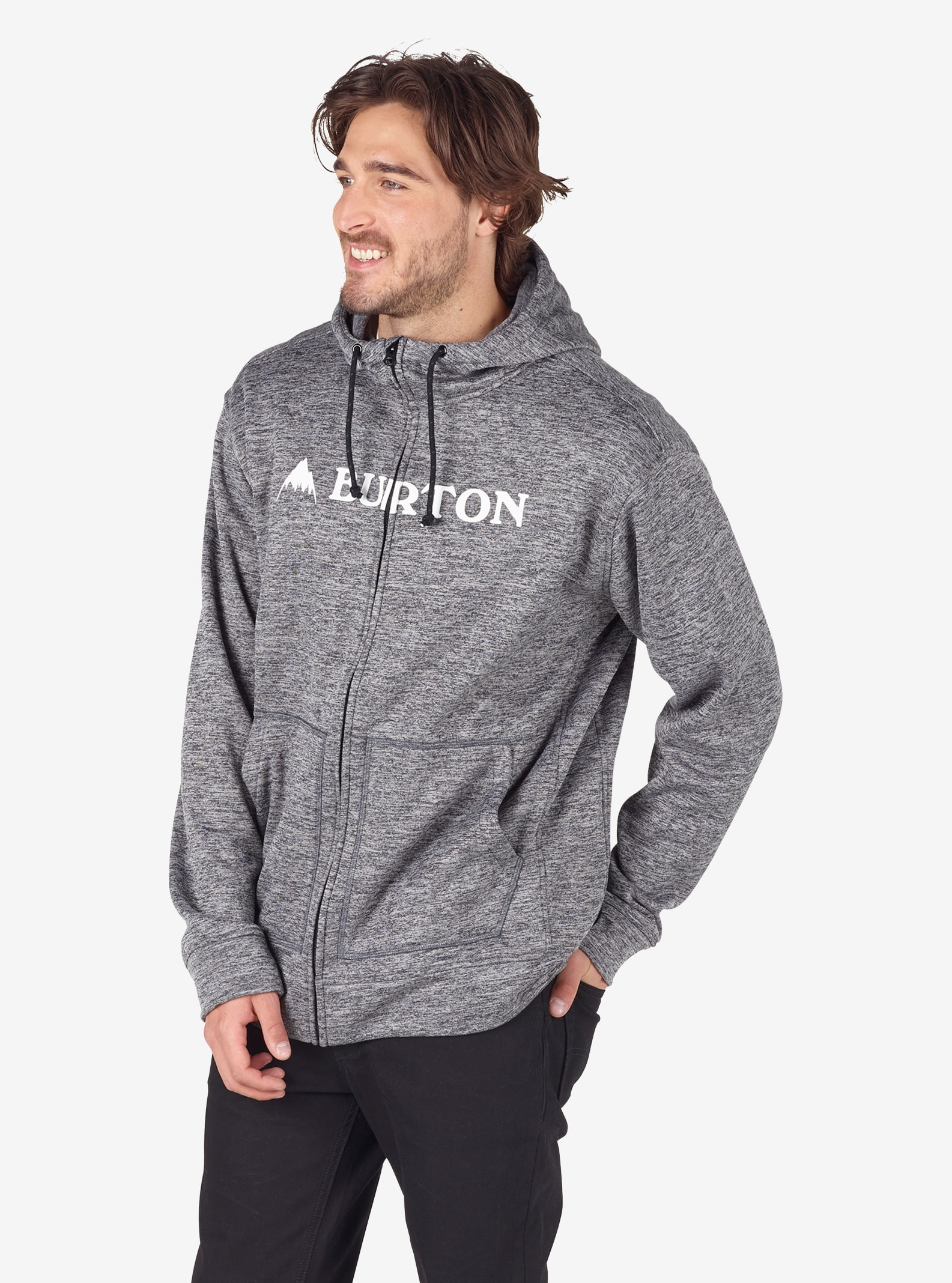 Men's Burton Oak Full-Zip Hoodie shown in True Black Heather