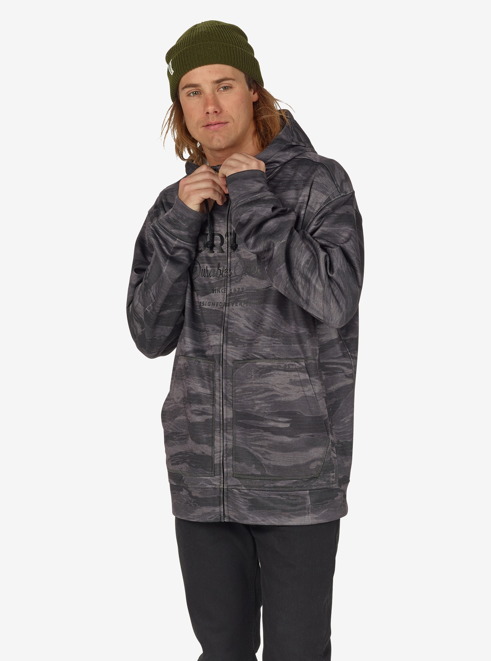 Men's Burton Oak Full-Zip Hoodie shown in Faded Worn Tiger
