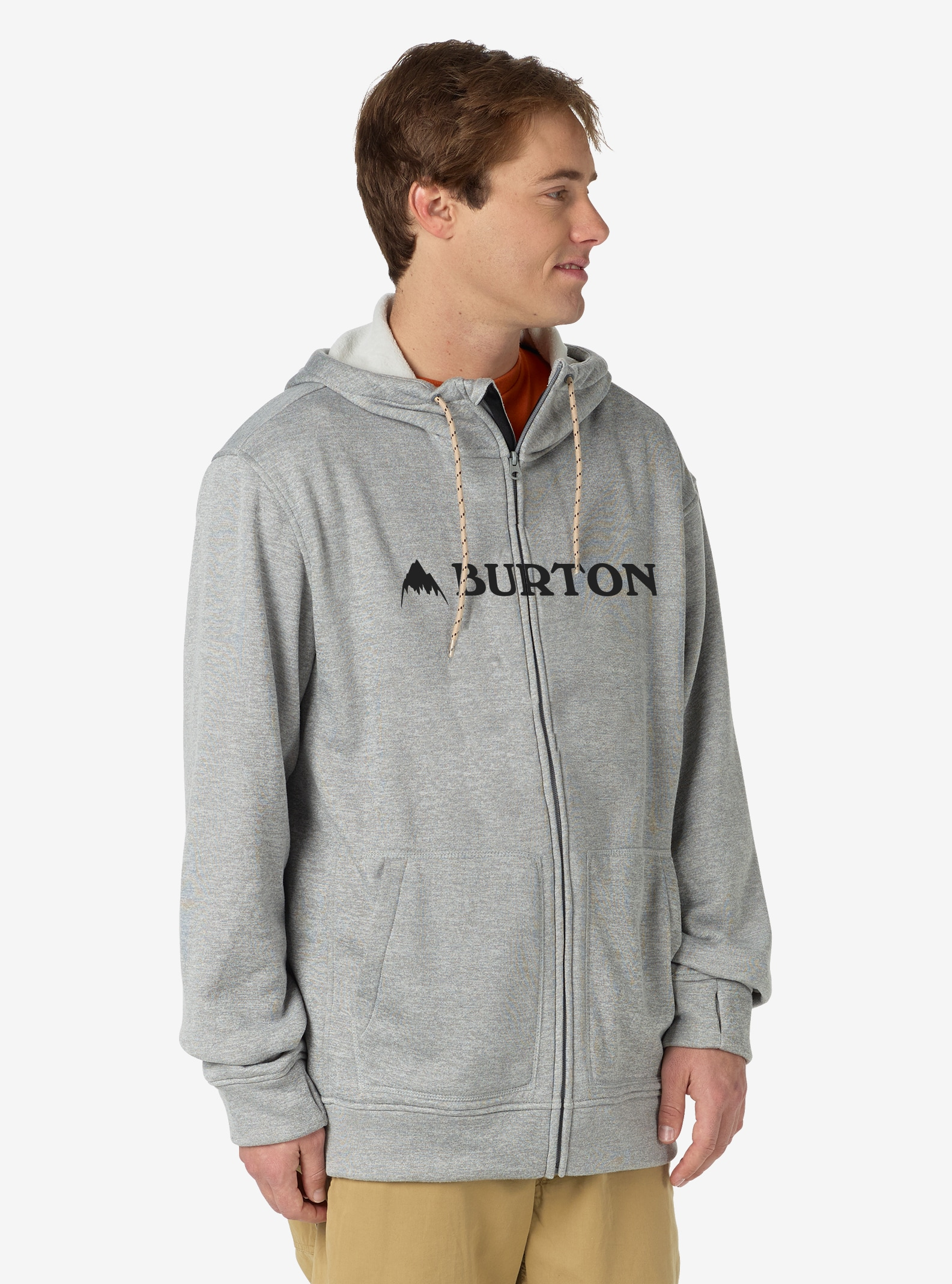 Men's Burton Oak Full-Zip Hoodie shown in Monument Heather
