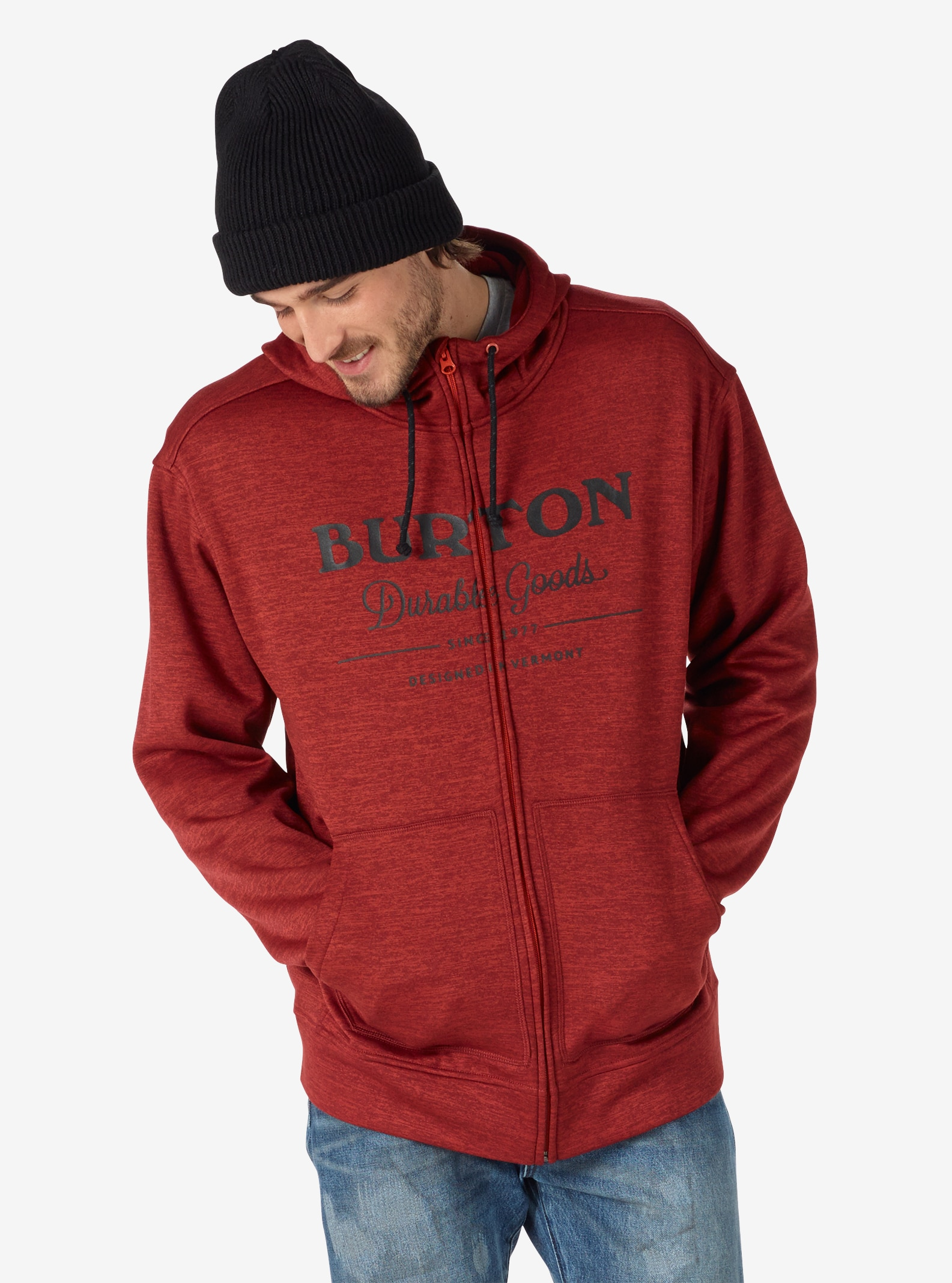 Men's Burton Oak Full-Zip Hoodie shown in Tandori Heather