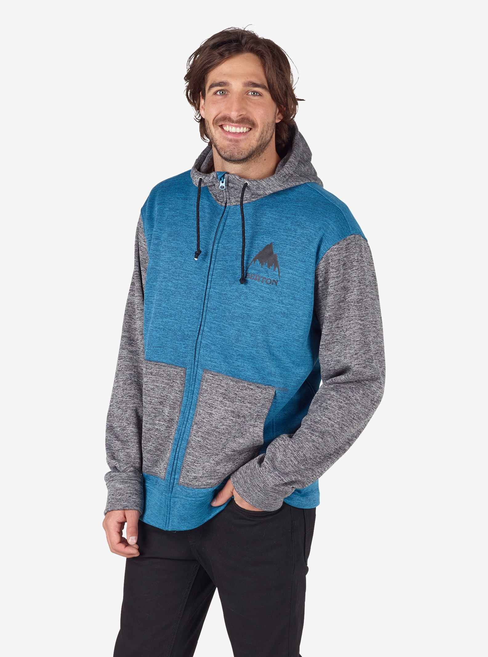Men's Burton Oak Full-Zip Hoodie shown in Mountaineer Heather / True Black Heather