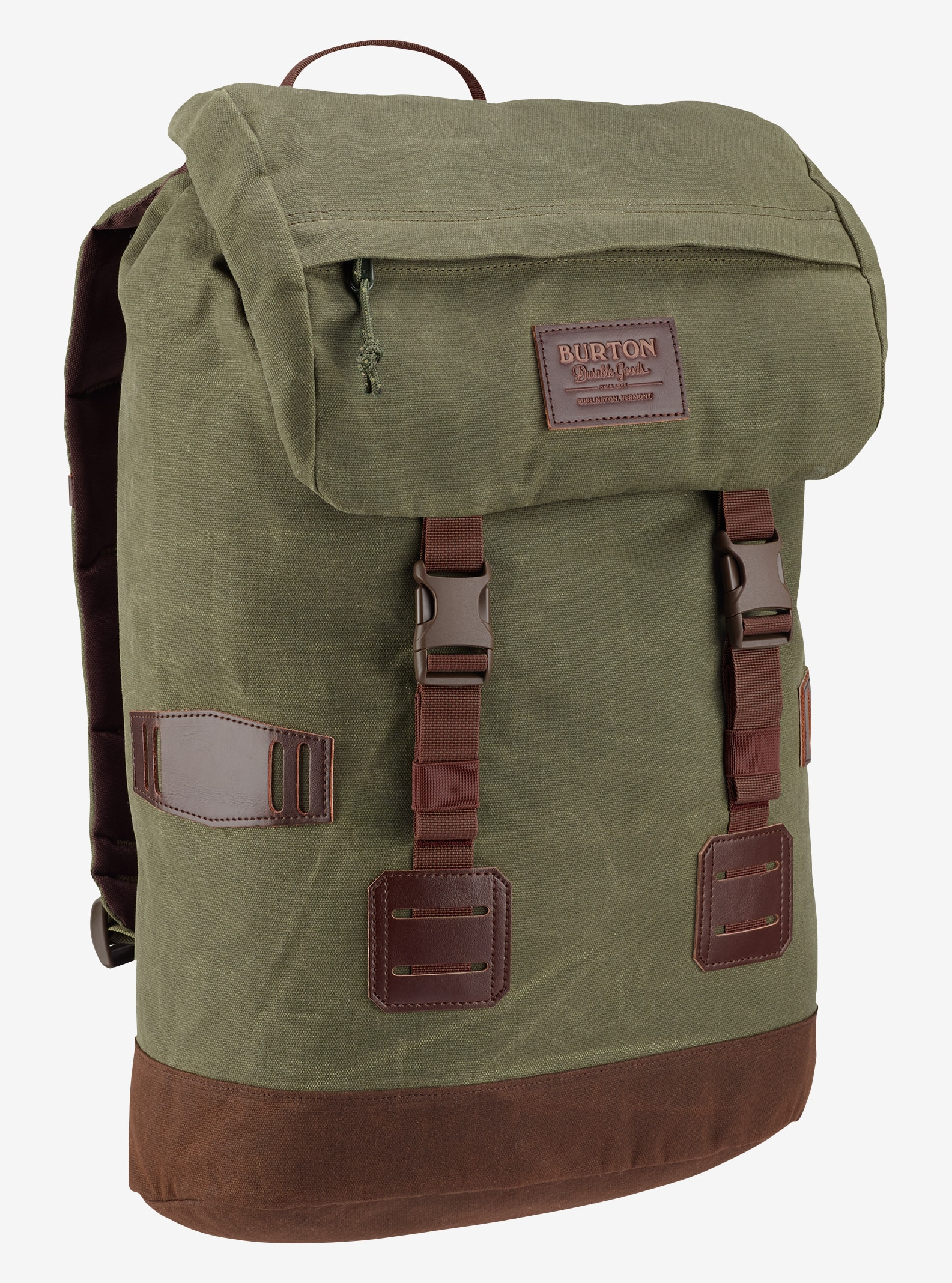 Burton Tinder Backpack shown in Forest Night Waxed Canvas