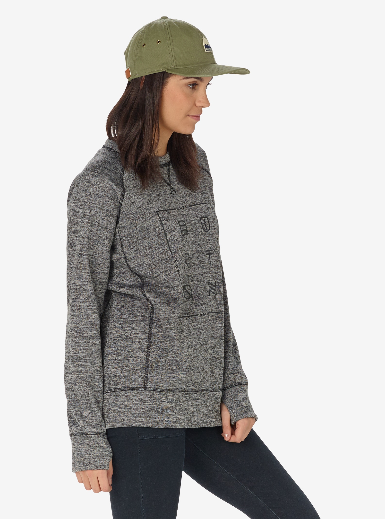 Women's Burton Quartz Crew shown in True Black Heather