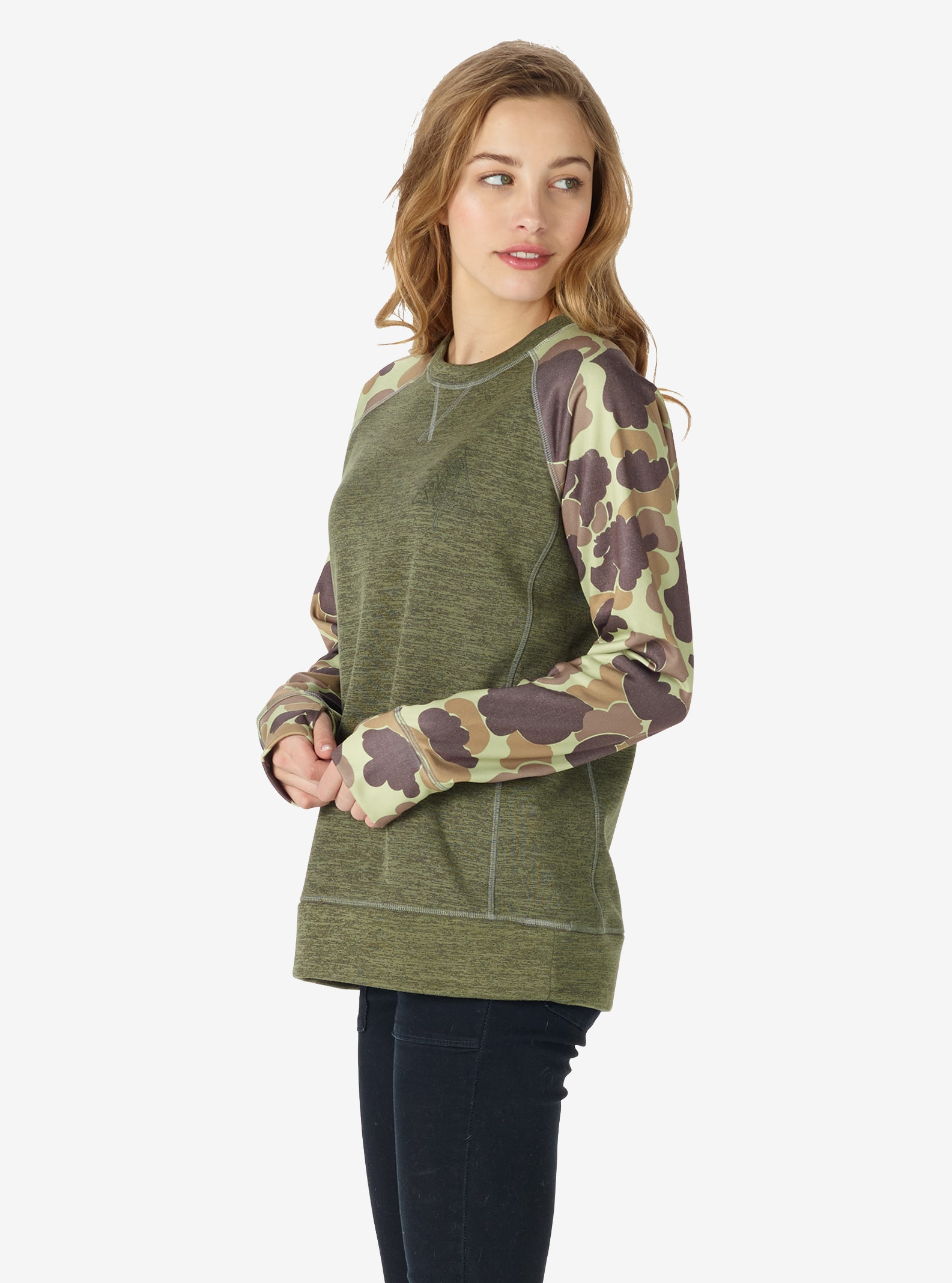 Women's Burton Quartz Crew shown in Dusty Olive Heather