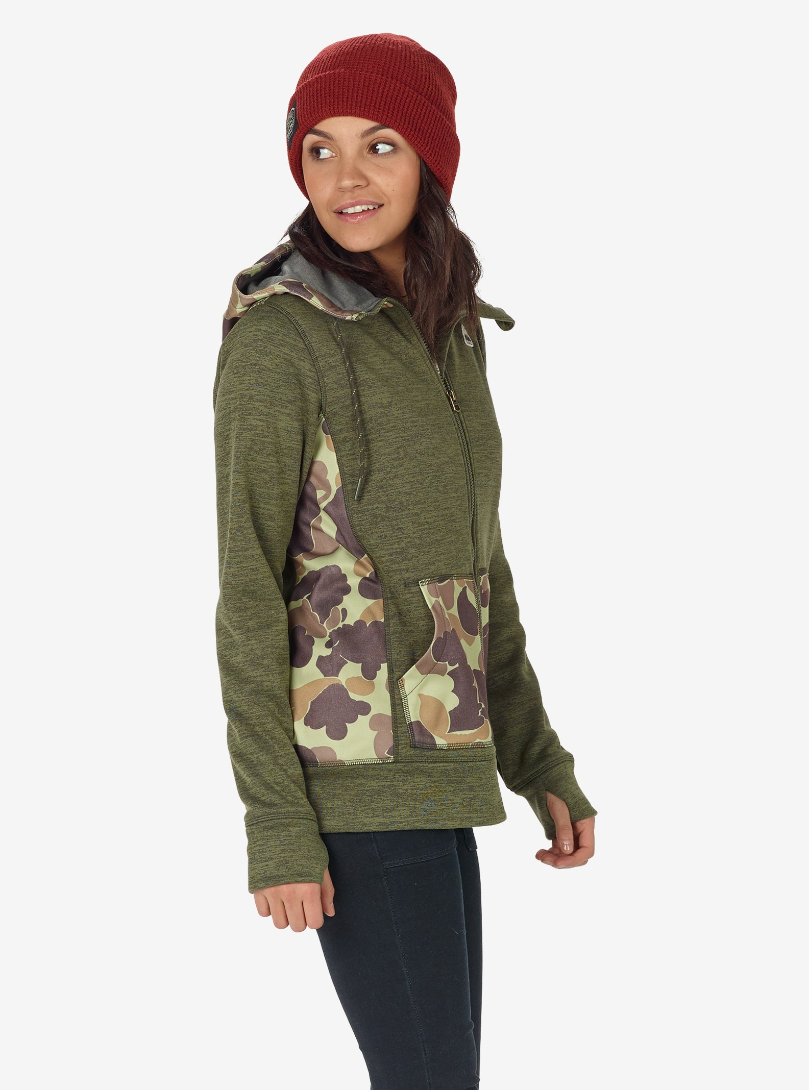 Women's Burton Quartz Full-Zip shown in Dusty Olive Heather