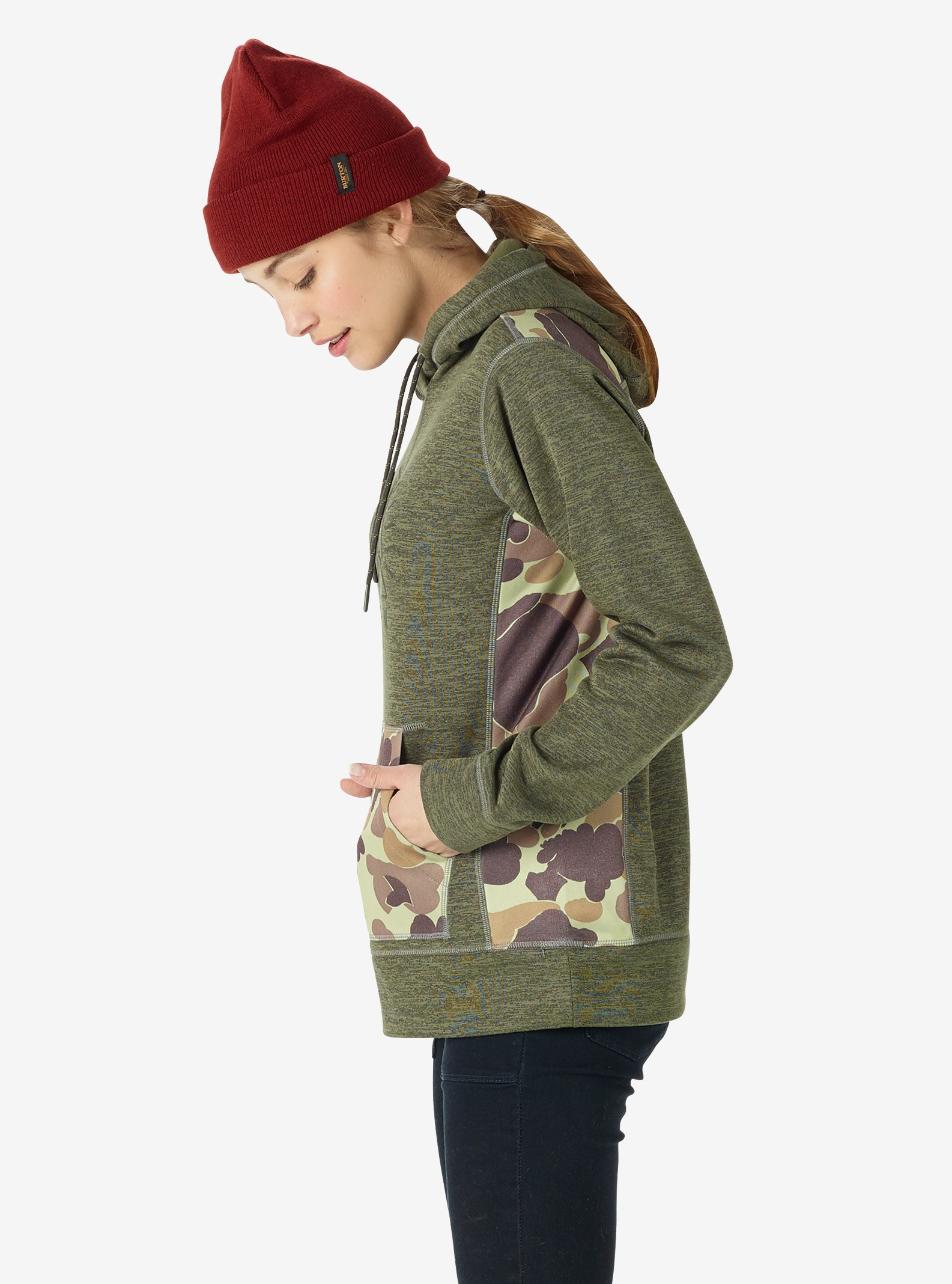 Women's Burton Quartz Pullover shown in Dusty Olive Heather