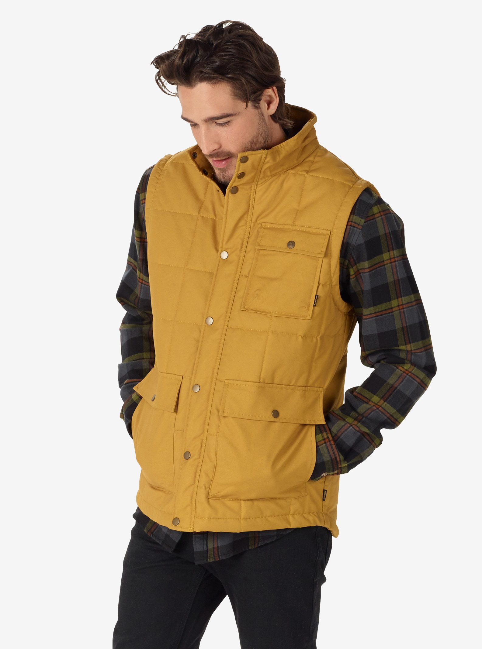Men's Burton Woodford Vest shown in Harvest Gold