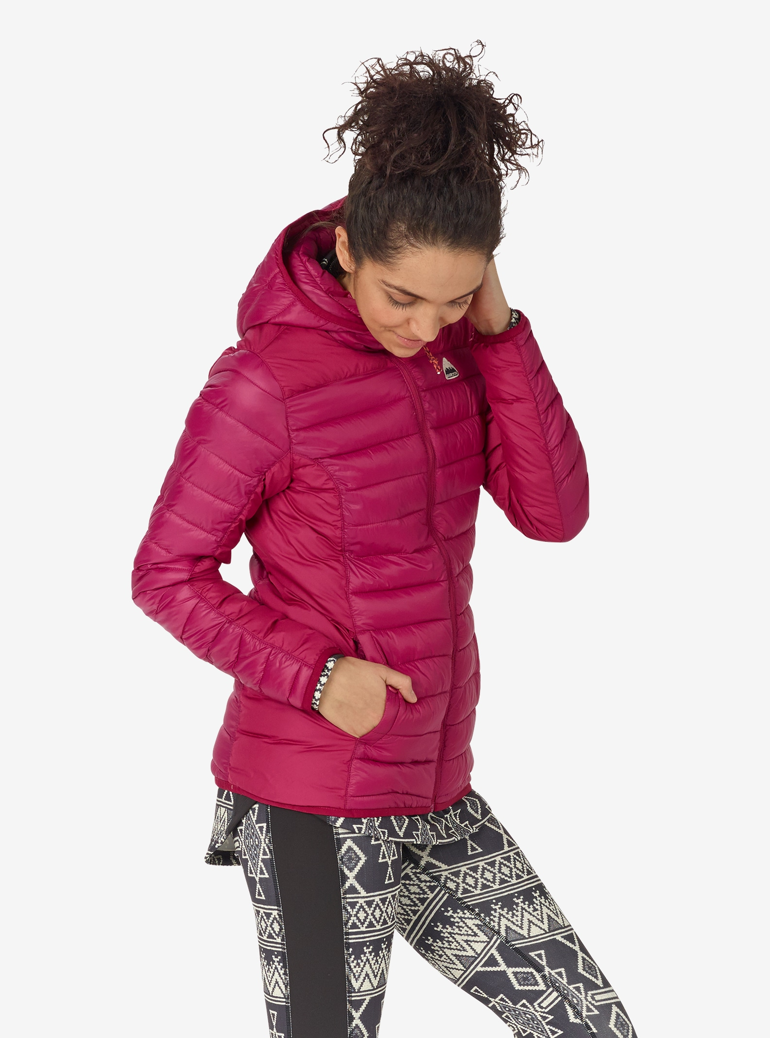 Women's Burton Evergreen Synthetic Hooded Insulator shown in Anemone