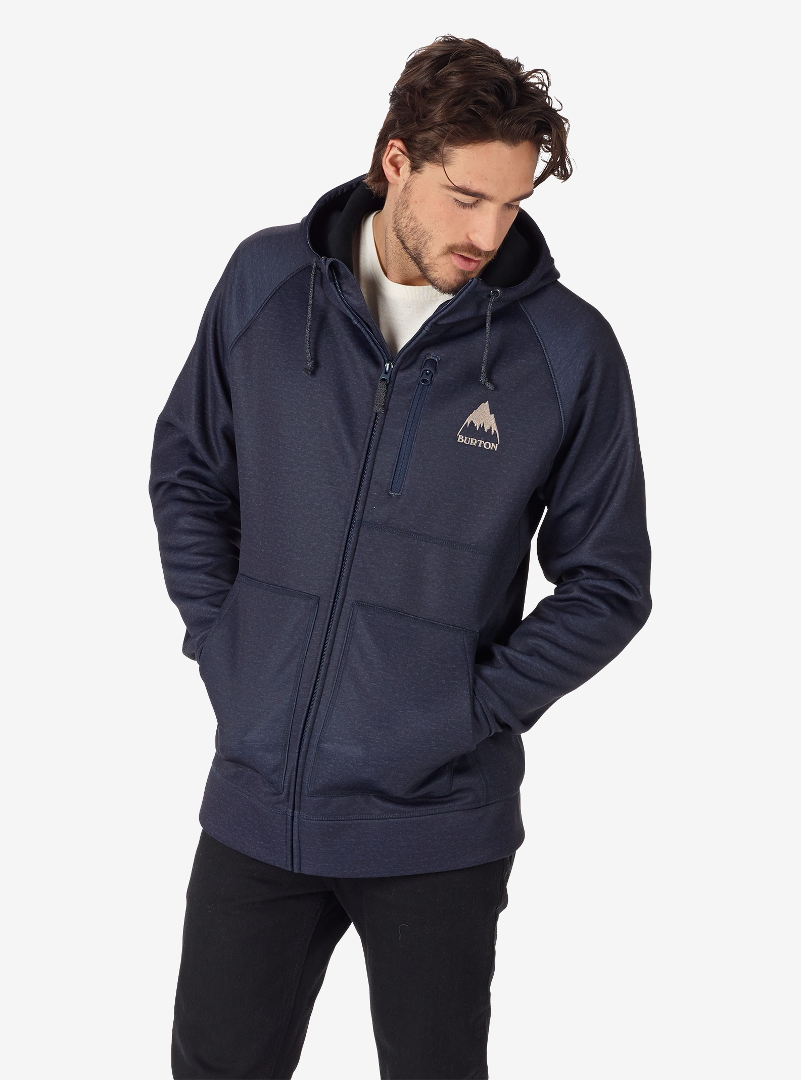 Men's Burton Bonded Full-Zip Hoodie shown in Mood Indigo Heather