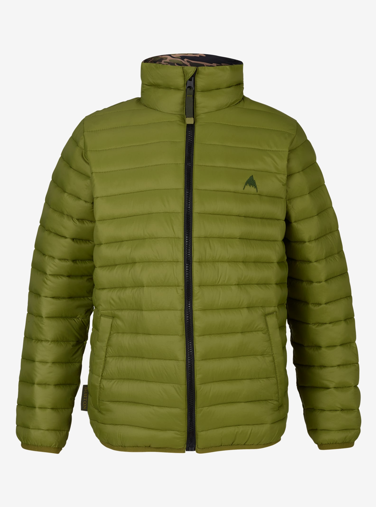 Kids' Burton Reversible Flex Puffy Jacket shown in Olive Branch / Olive Branch Beast