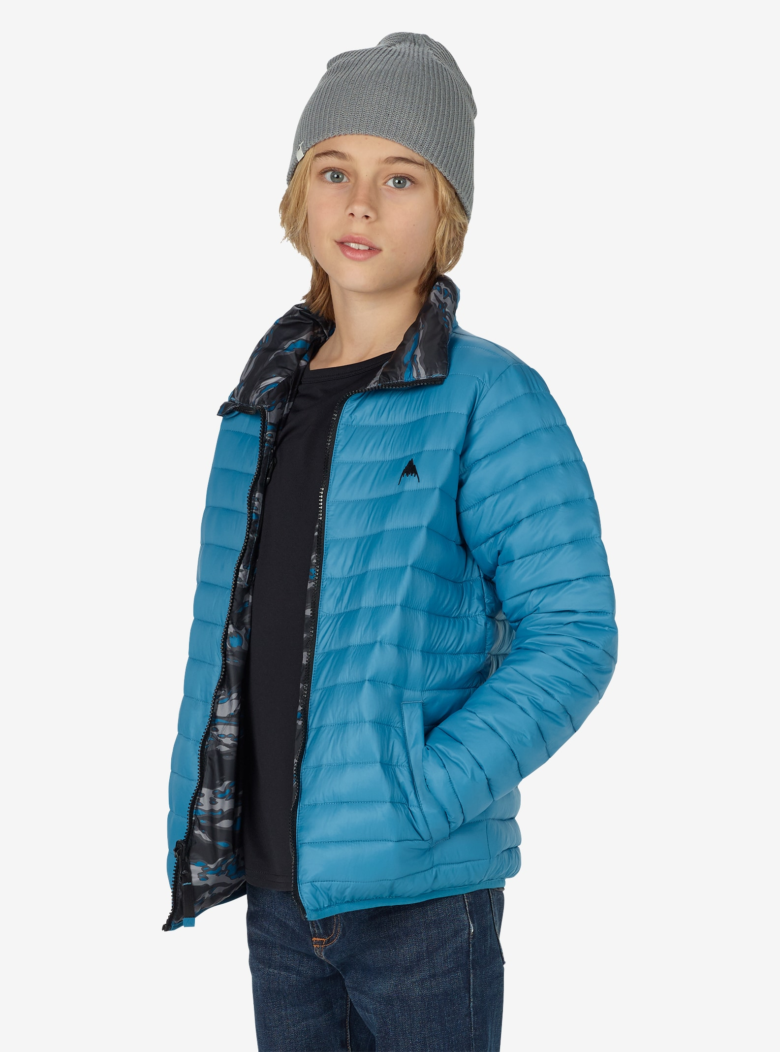Kids' Burton Reversible Flex Puffy Jacket shown in Mountaineer / Mountaineer Beast