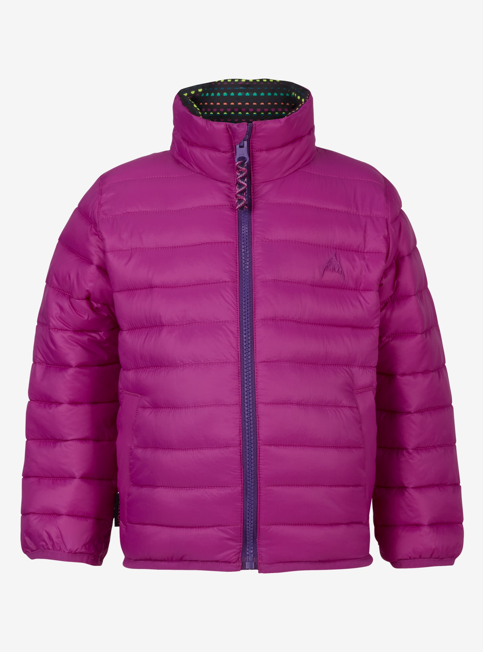 Kids' Burton Minishred Flex Puffy Jacket shown in Grapeseed / Candy Dots