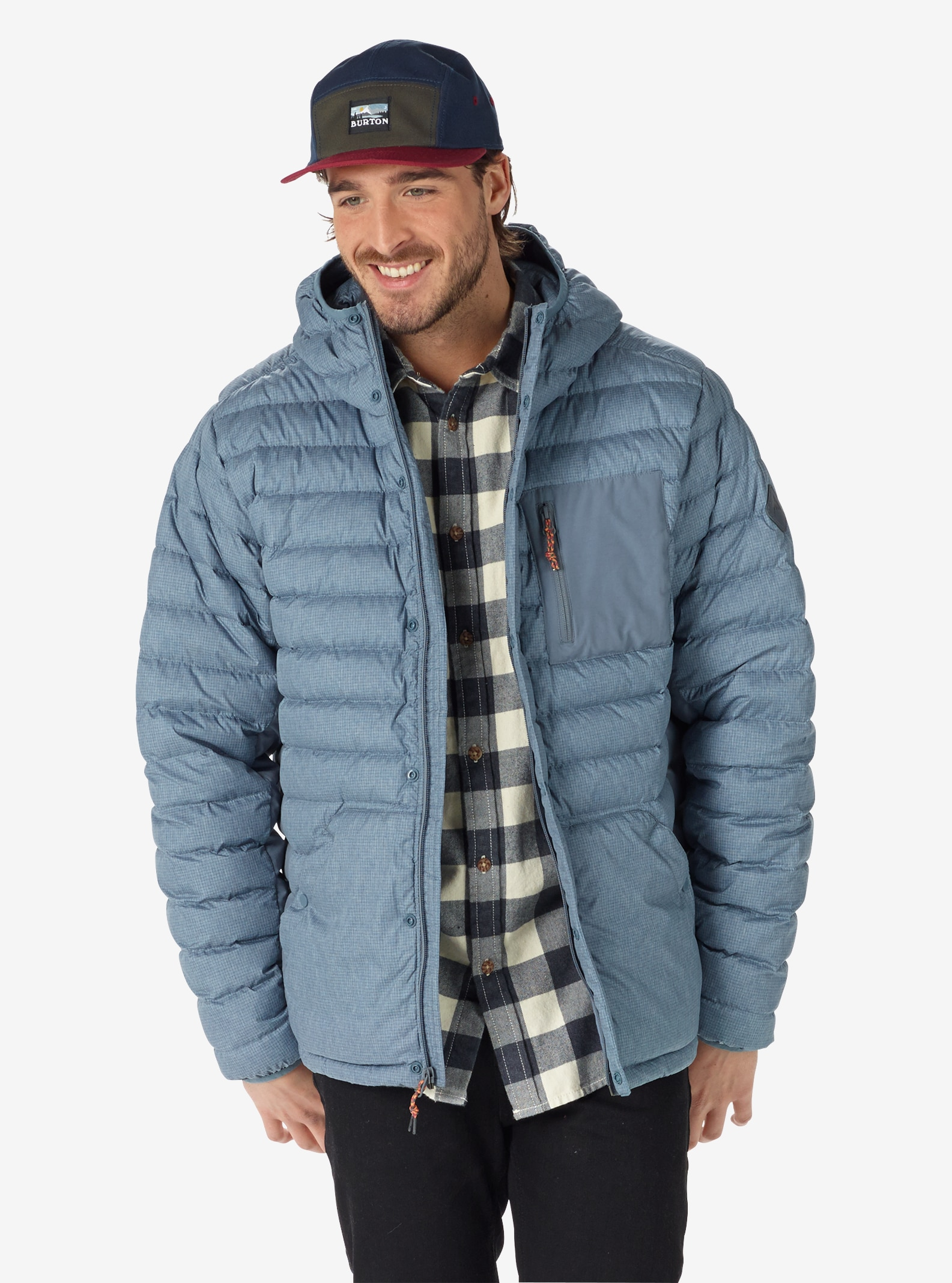 Men's Burton Evergreen Hooded Down Insulator shown in LA Sky Heather