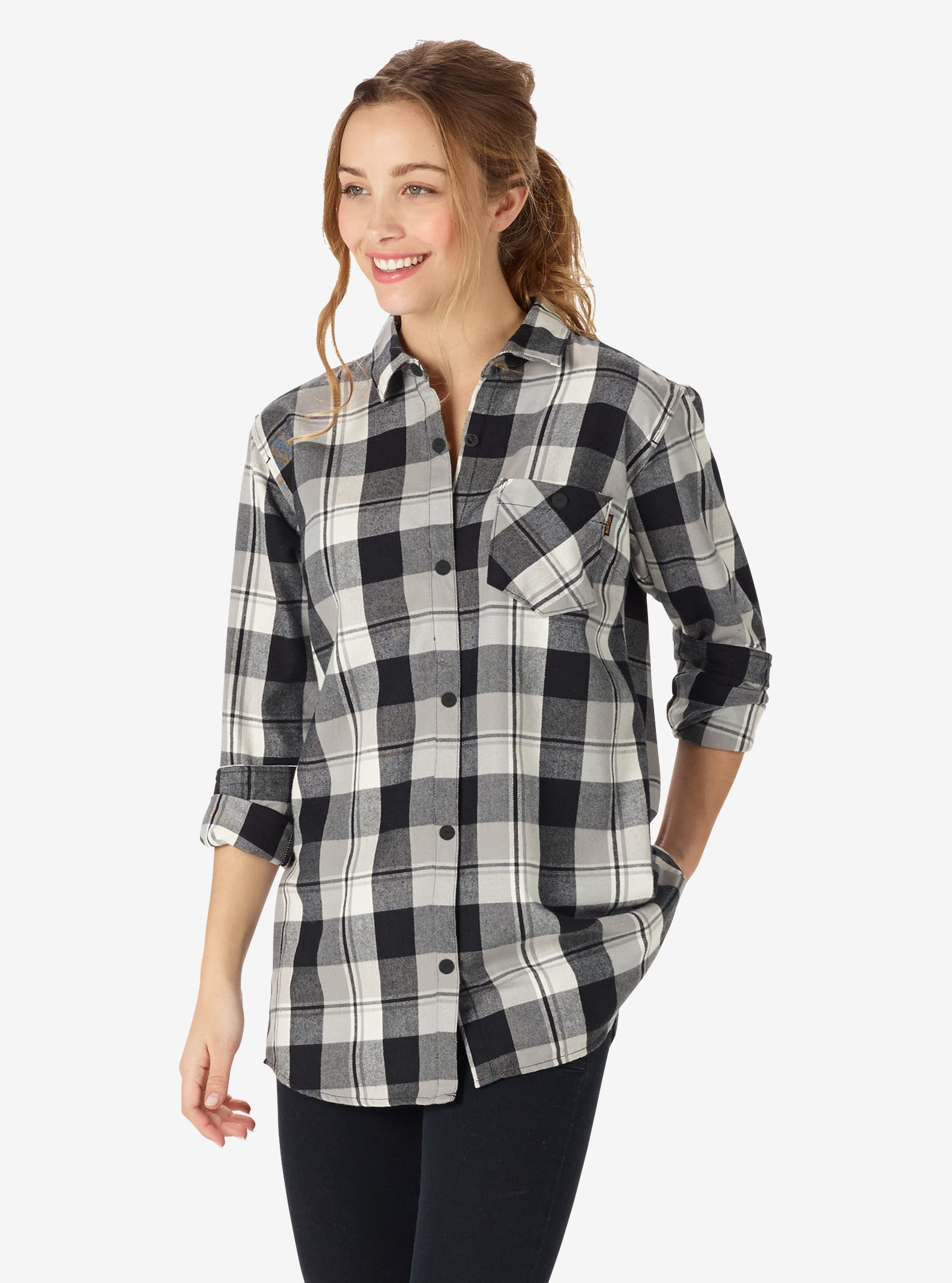 Women's Burton Grace Tech Flannel shown in True Black 77 Plaid