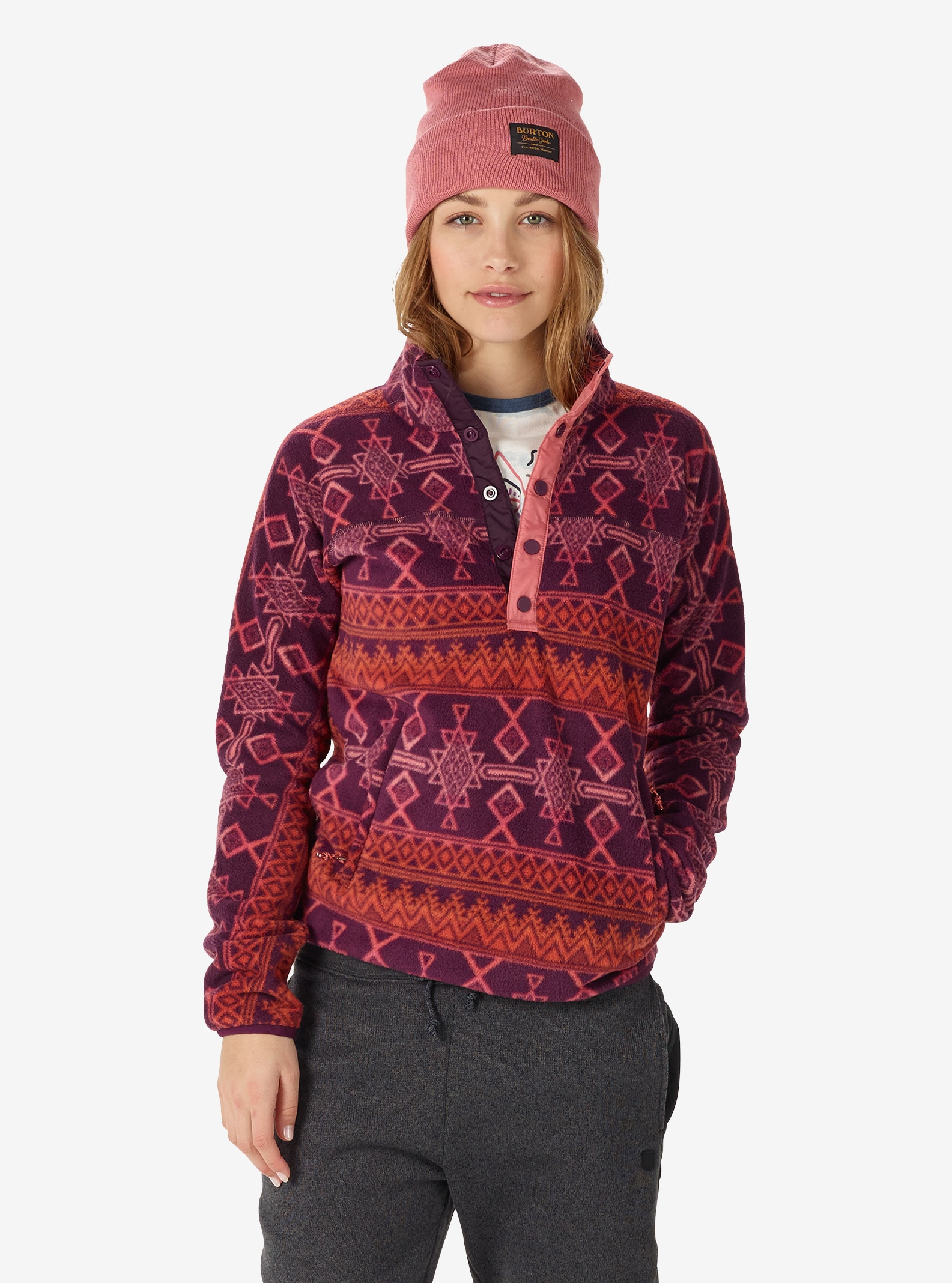 Women's Burton Anouk Fleece Anorak shown in Starling Mojave