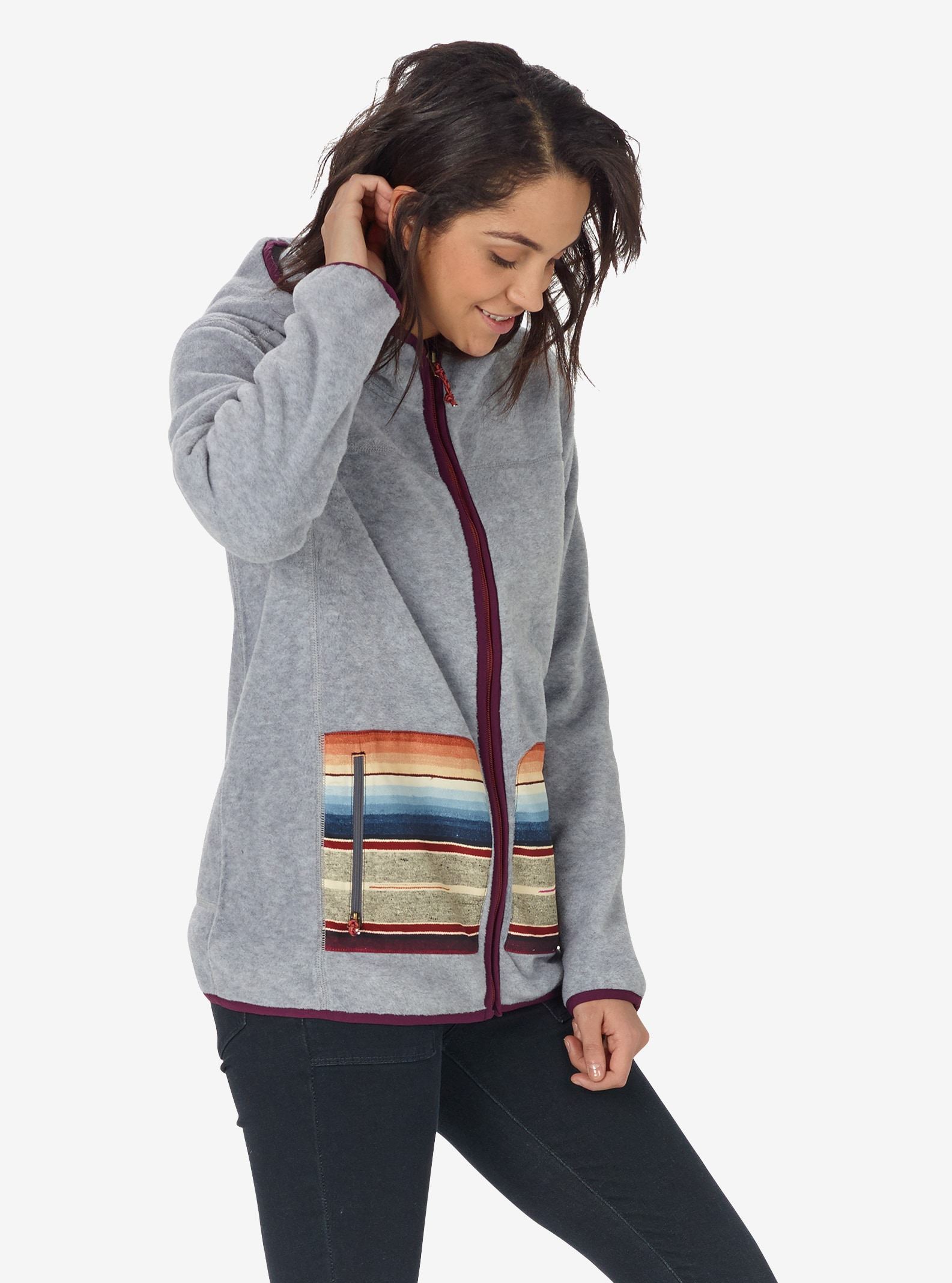 Women's Burton Anouk Fleece Full-Zip shown in Monument Heather
